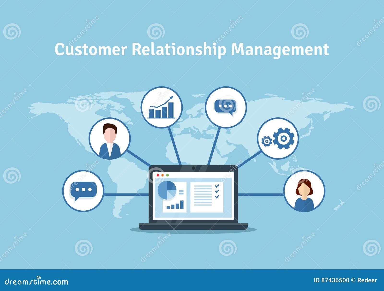 Organisation av data på arbete med klienter, CRM begrepp Illustration för kundförhållandeledning