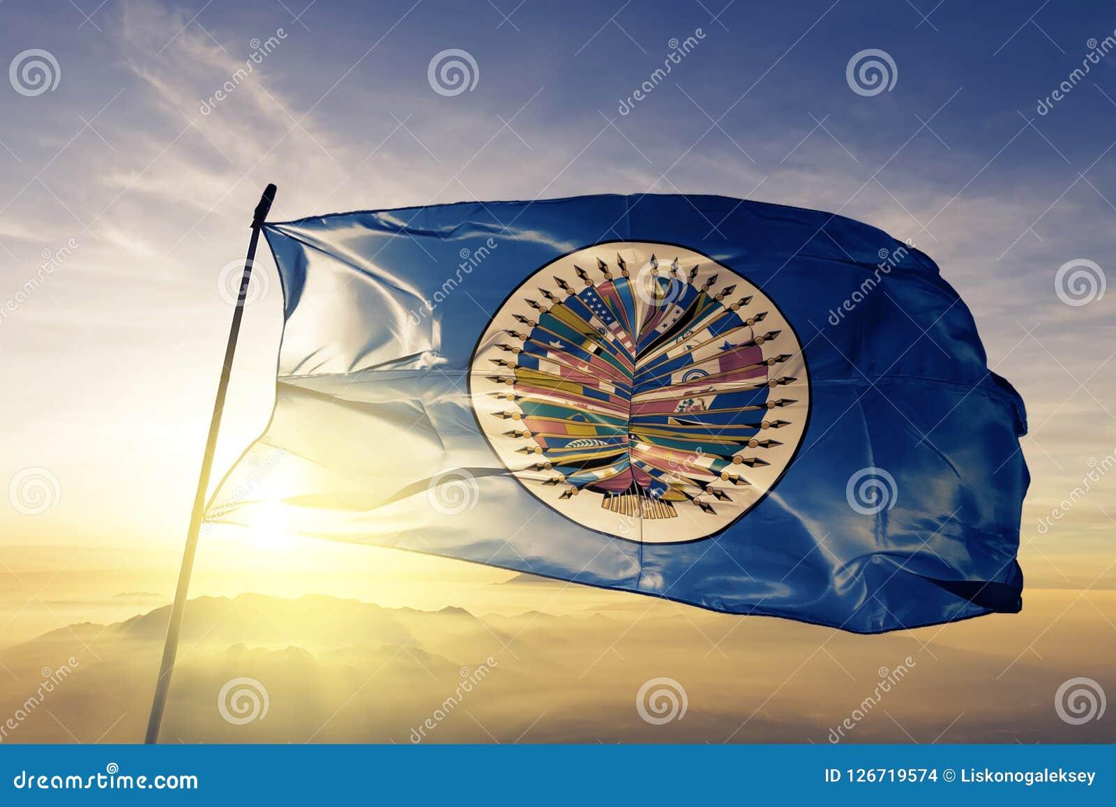 Organisation av för flaggatextil för amerikanska stater som OAS OEA tyg för torkduk vinkar på den bästa soluppgångmistdimman