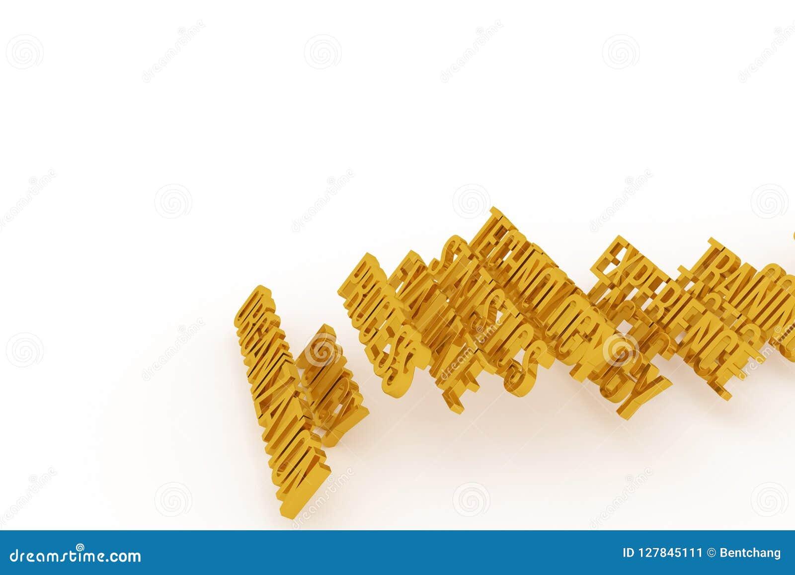 Organisation begreppsmässiga guld- ord 3D för affär Cgi, rengöringsduk, design & digitalt