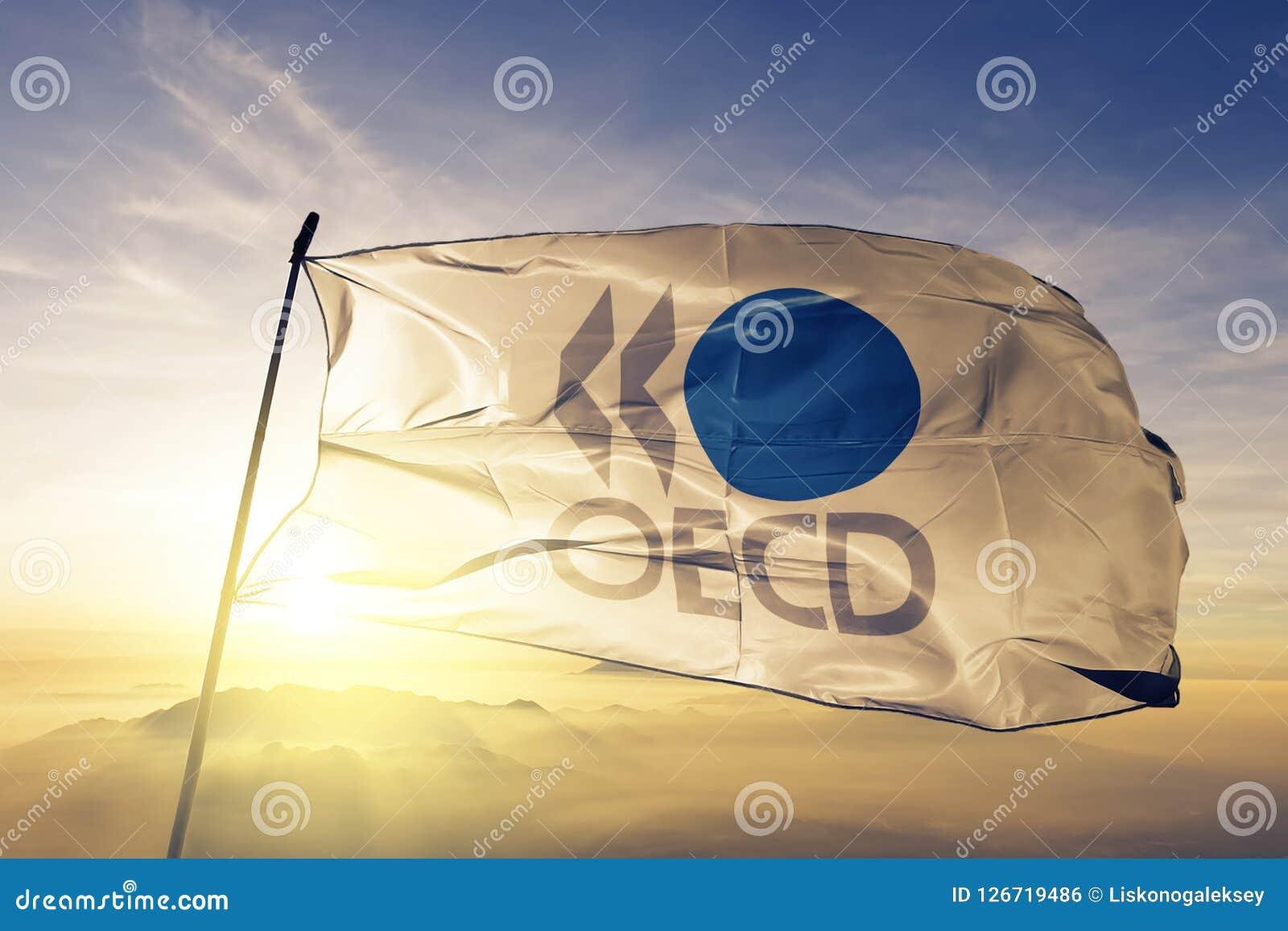Organisation das Stoffgewebe für der wirtschaftlichen Zusammenarbeit und der Entwicklung OECD Flagge Textil, dasauf den Spitzenso