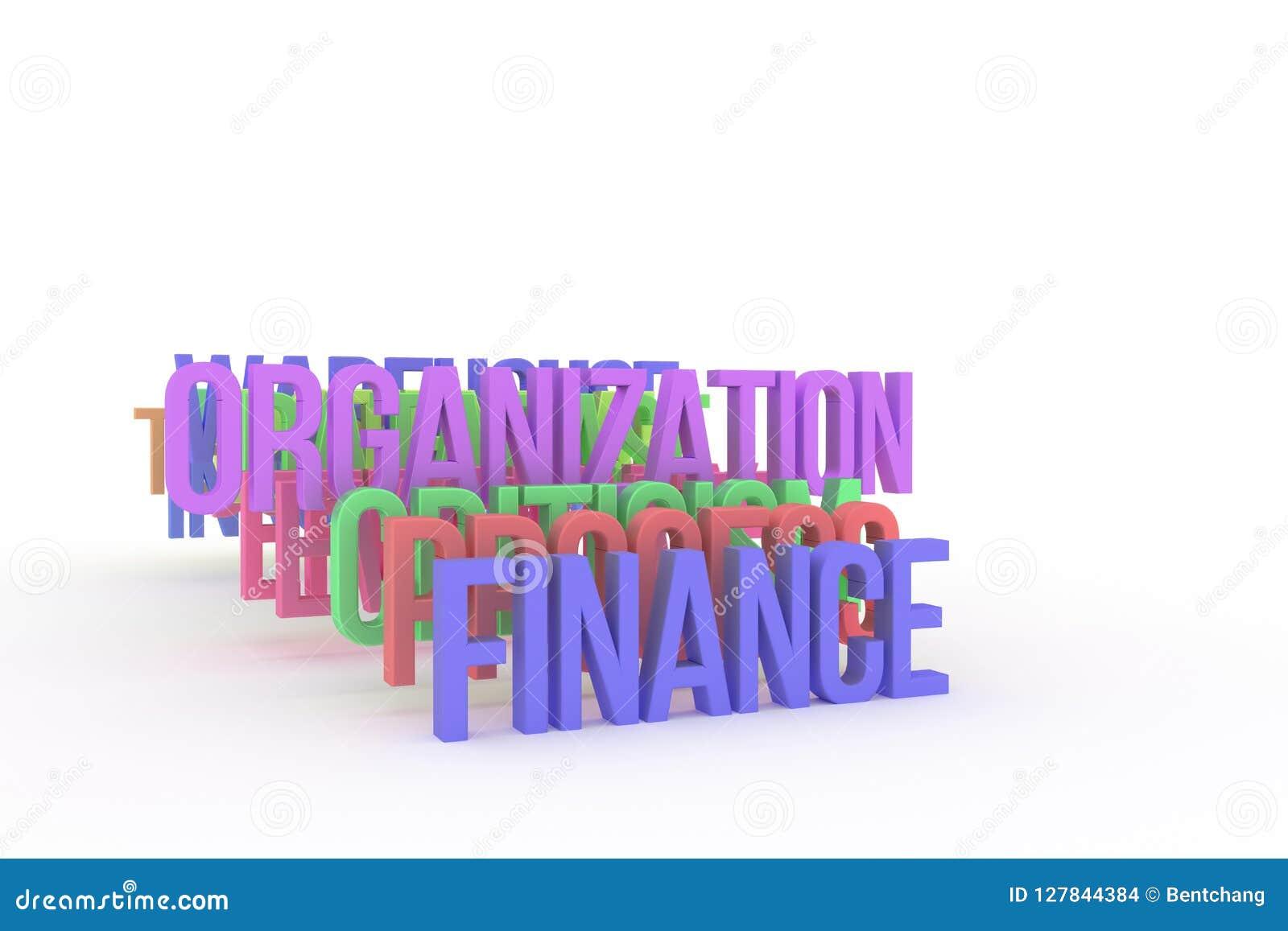 Organisation & finans, begreppsmässiga färgrika ord 3D för affär Kreativitet, tolkning, cgi & digitalt