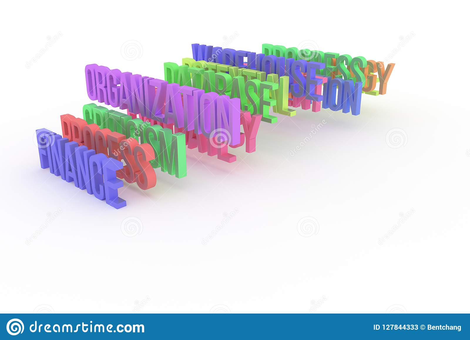 Organisation & finans, begreppsmässiga färgrika ord 3D för affär Titel, stil, illustration & kommunikation