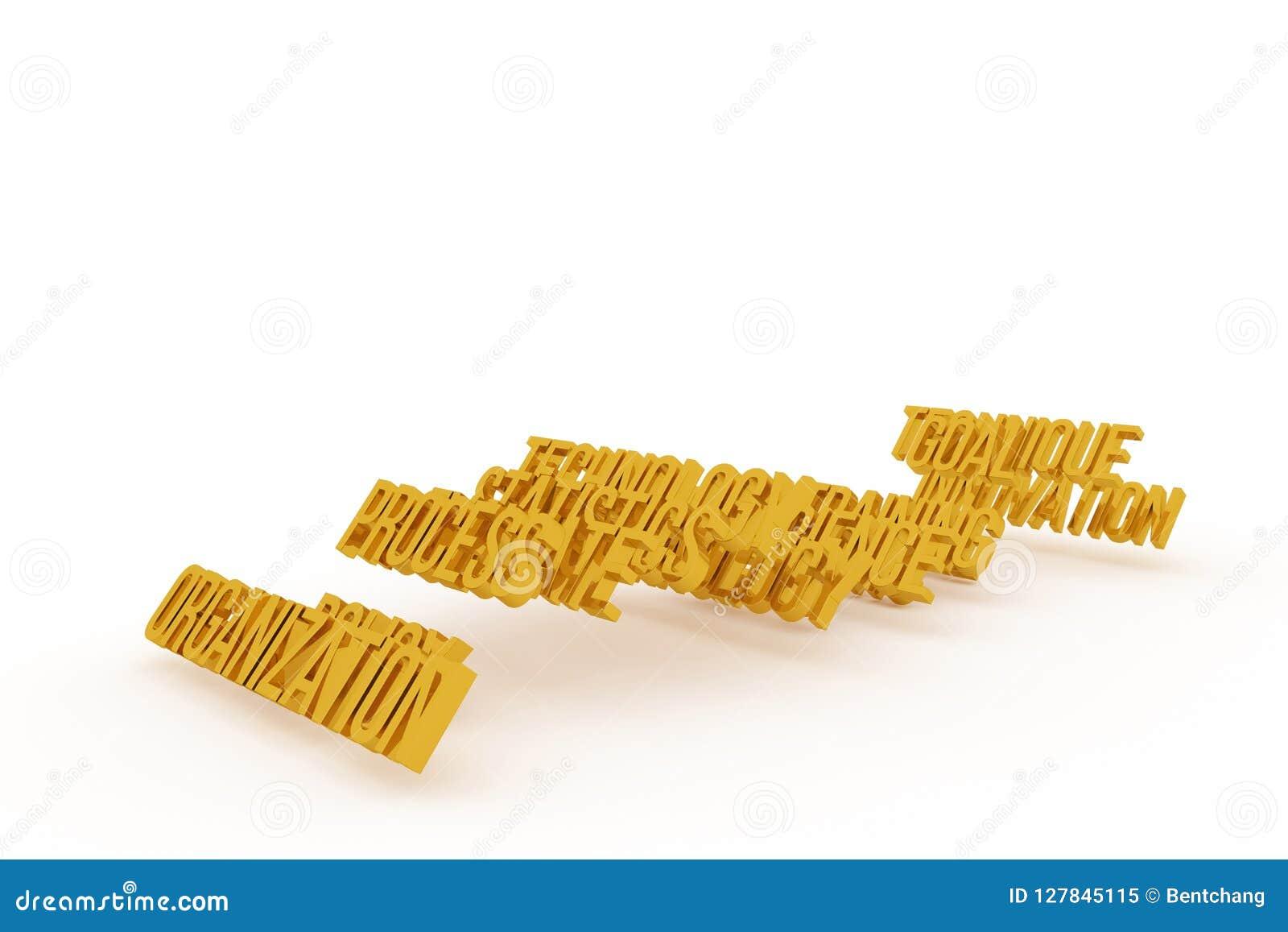 Organisation, goldene begrifflichwörter 3D des Geschäfts Art, Positiv, Hintergrund u. Tapete