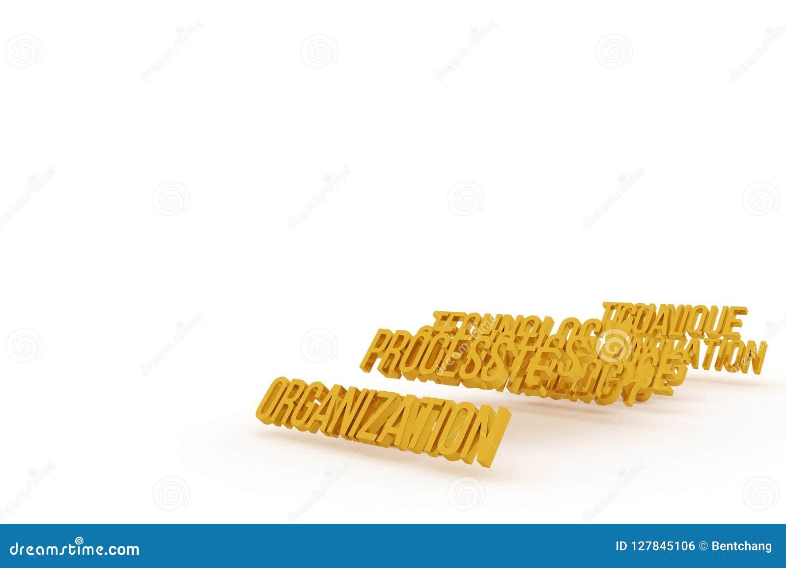 Organisation, goldene begrifflichwörter 3D des Geschäfts Design, Tapete, Hintergrund u. Titel