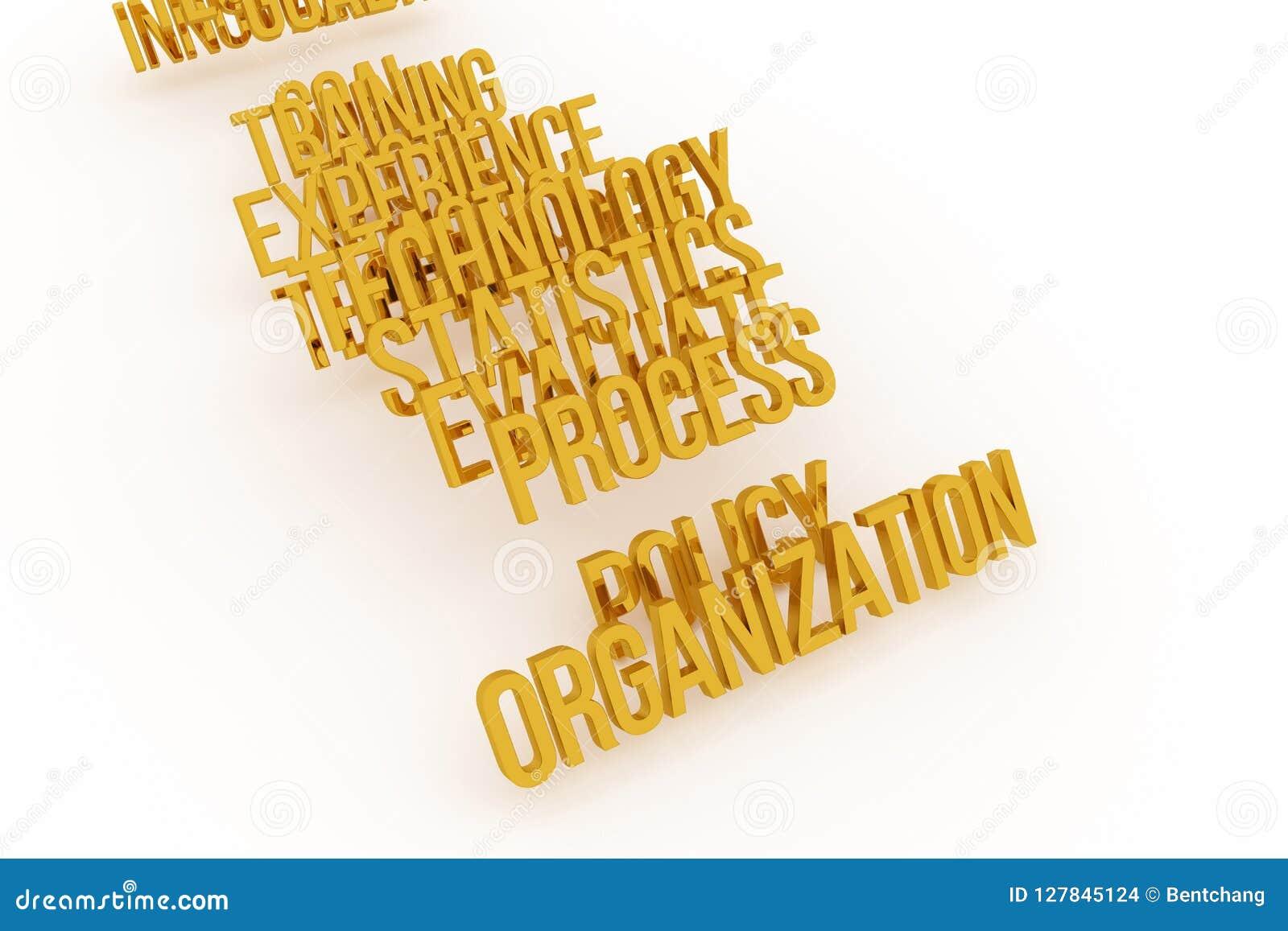 Organisation, goldene begrifflichwörter 3D des Geschäfts Titel, Mitteilung, Grafik u. digitales