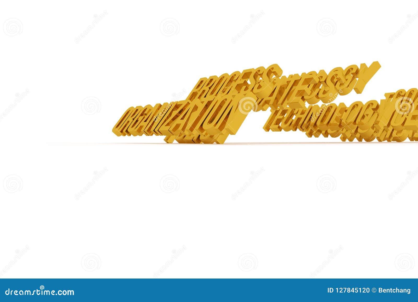 Organisation, goldene begrifflichwörter 3D des Geschäfts Typografie, cgi, Grafik u. Text