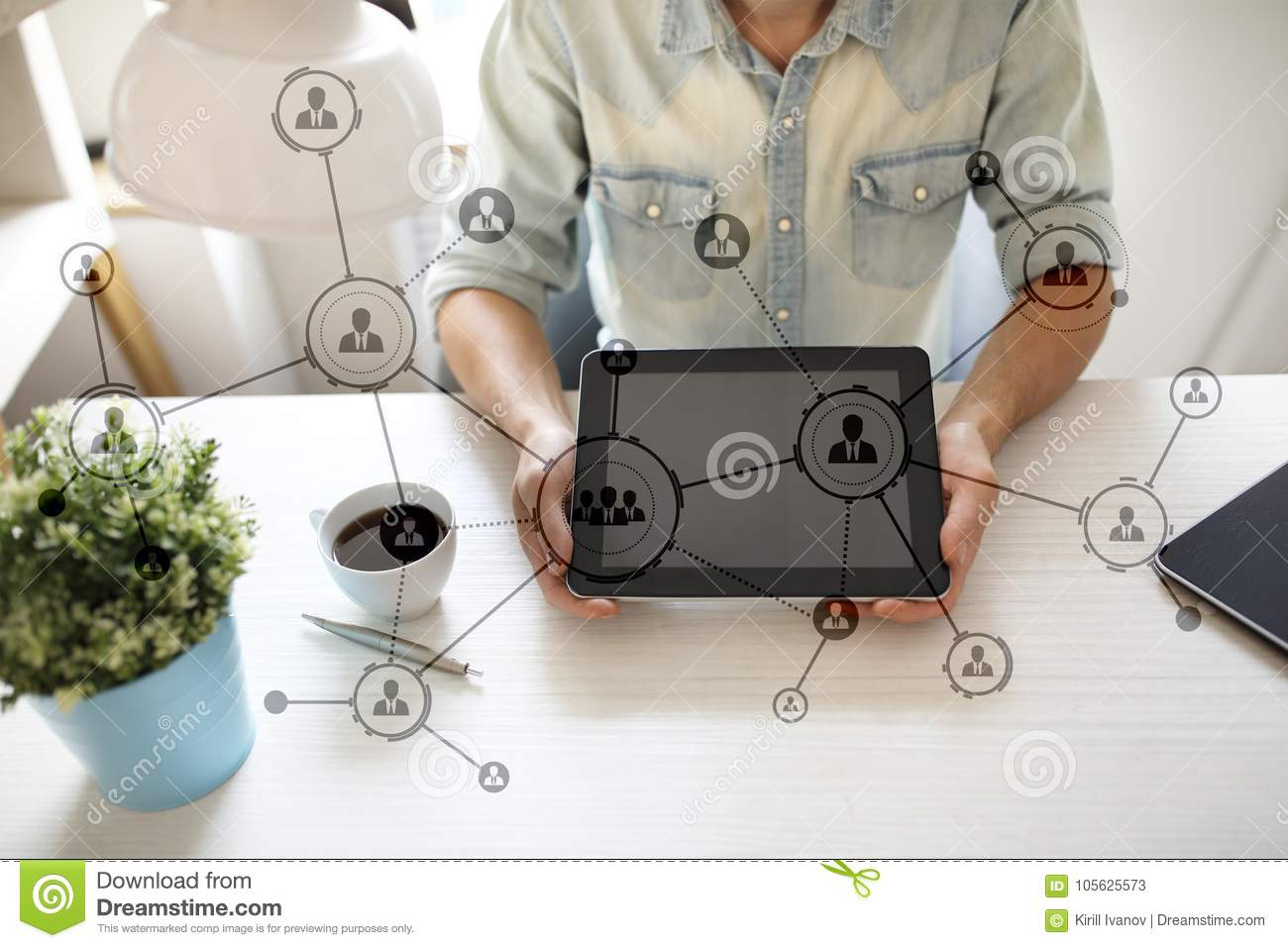 Organisation structure. People`s social networ. Business and technology concept.
