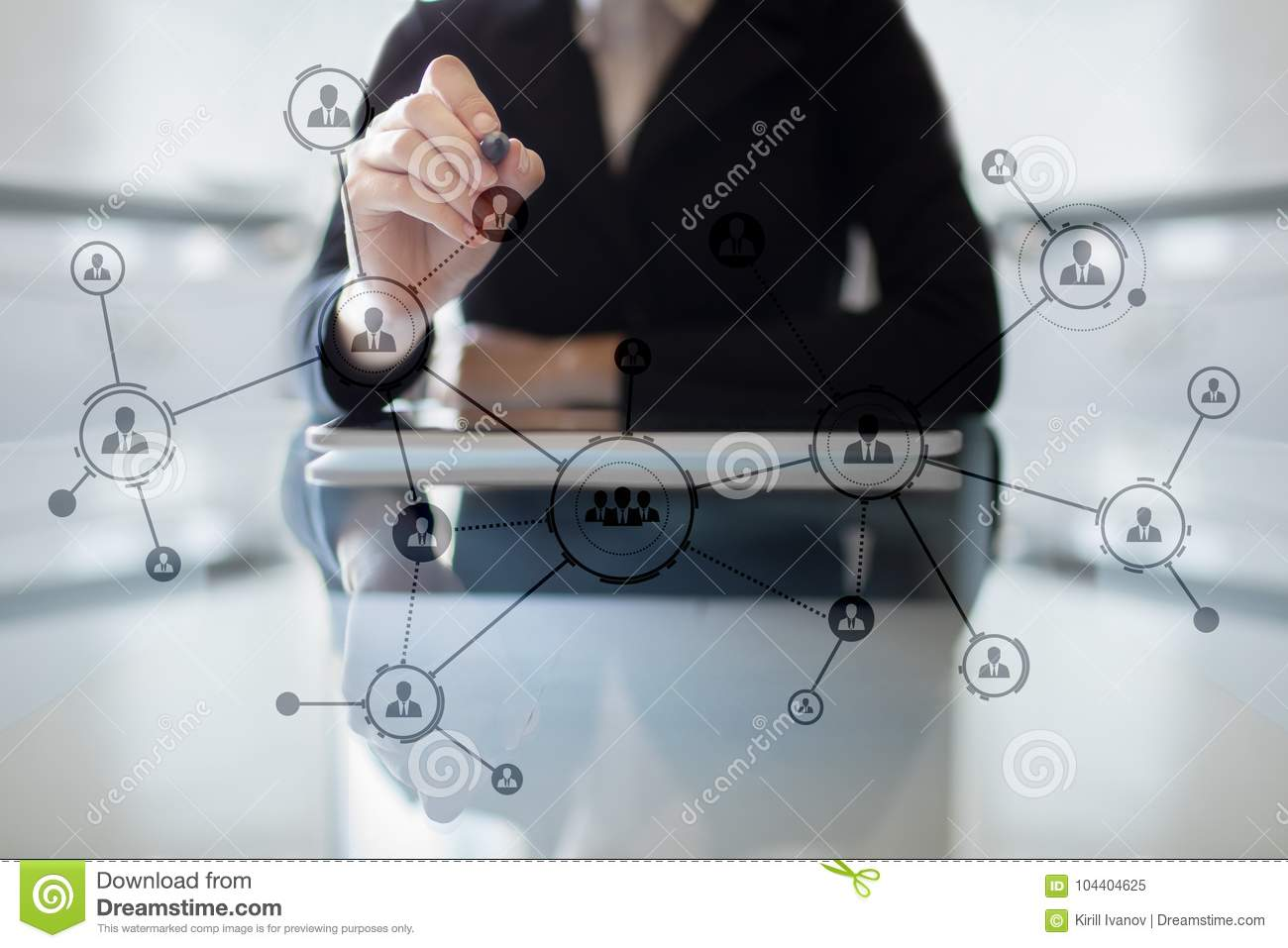 Organisation structure. People`s social network. Business and technology concept