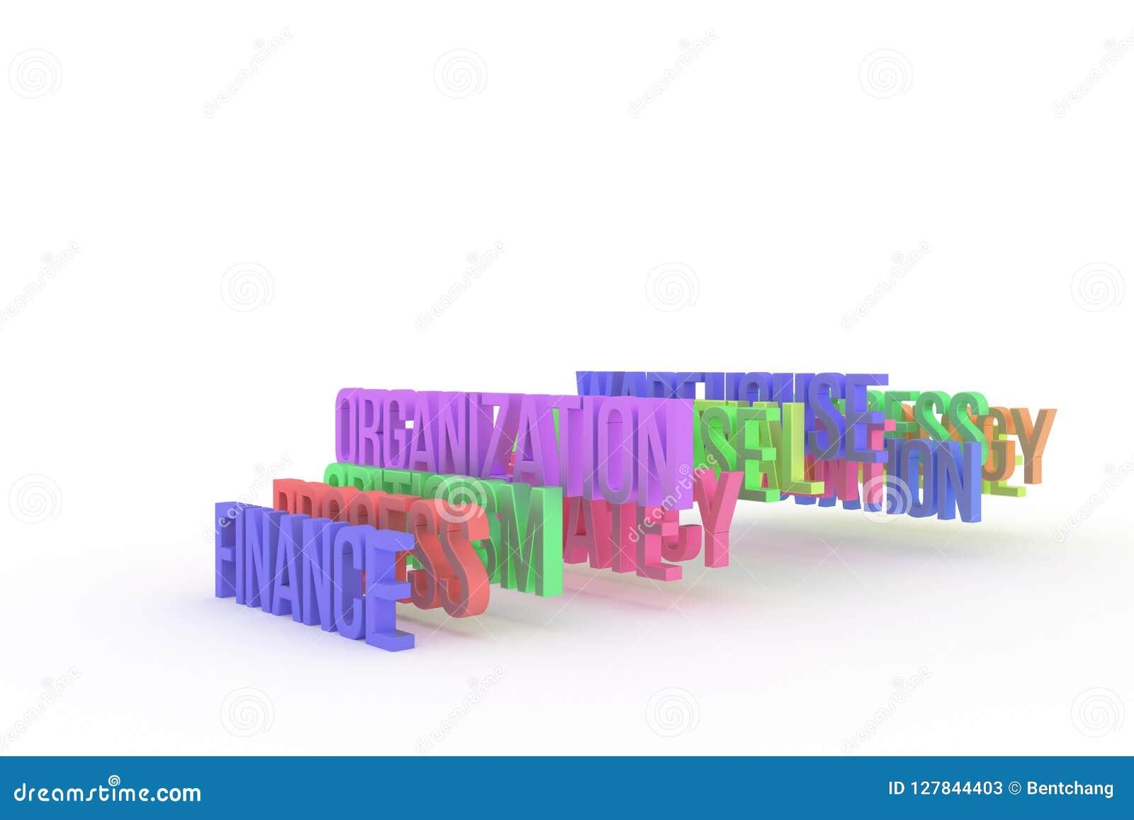 Organisation u. Finanzierung, bunte begrifflichwörter 3D des Geschäfts Hintergrund, Kommunikation, Netz u. Kreativität
