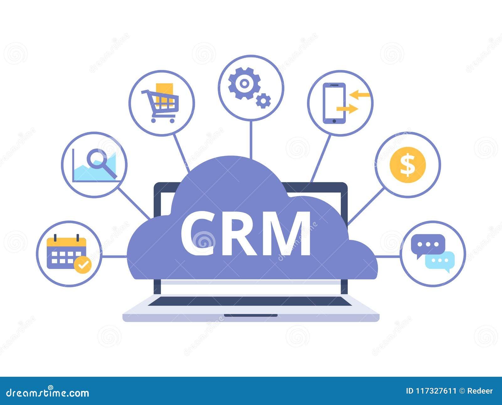 Organisation von Daten bezüglich der Arbeit mit Kunden, Kunden-Verhältnis-Management CRM-Konzeptdesign mit Vektorelementen