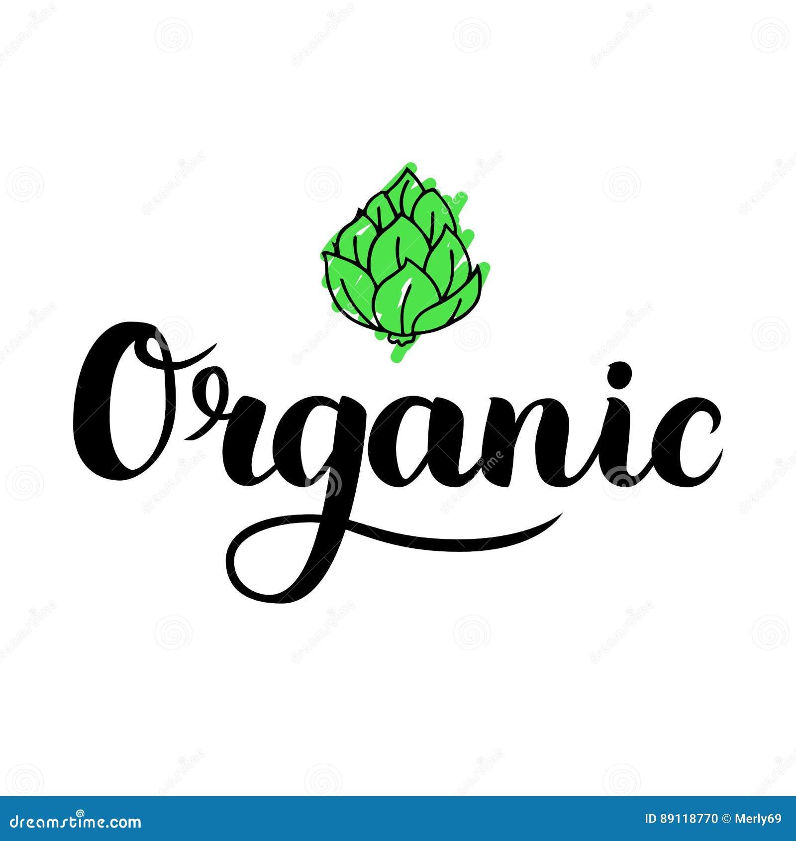 Organische Bürstenbeschriftung Hand Gezeichnetes Wort Organisch Mit ...