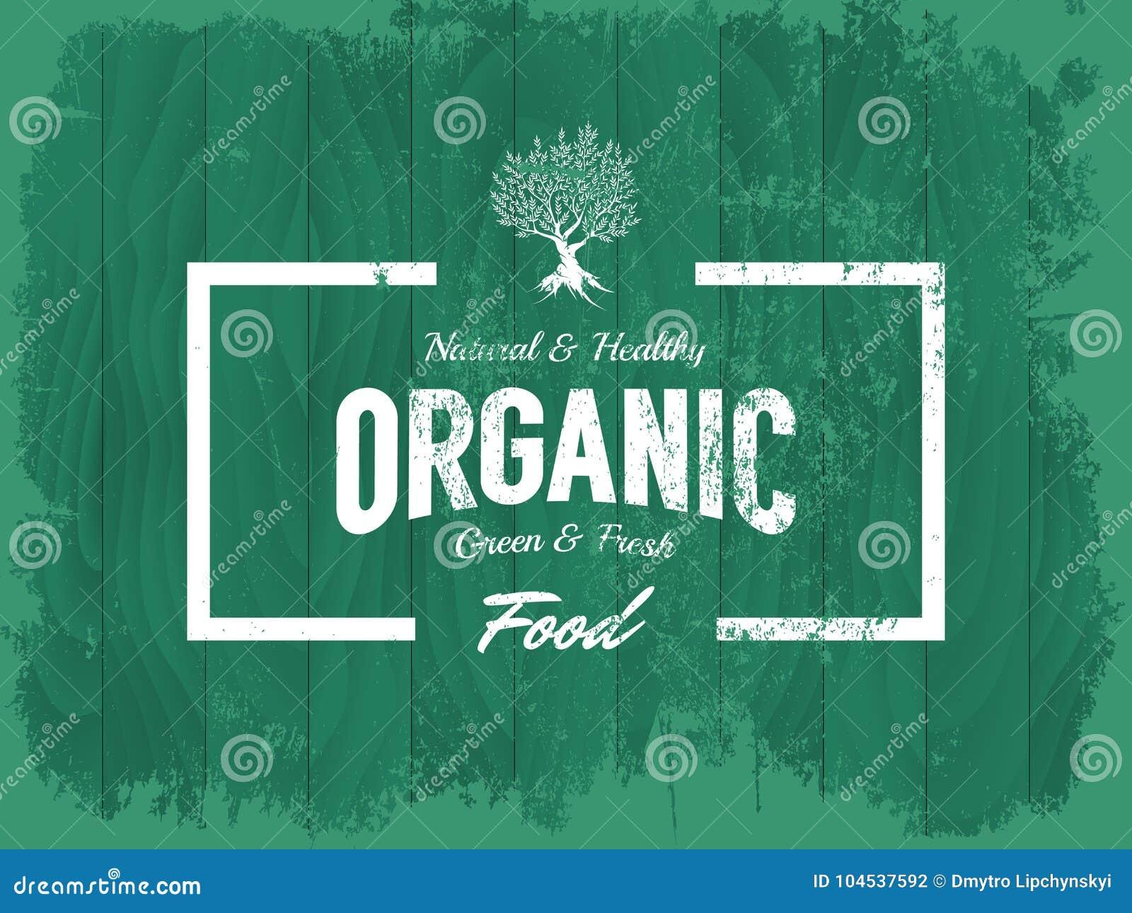 Organisches, natürliches und gesundes Lebensmittelvektorlogo der Weinlese lokalisiert auf hölzernem Bretthintergrund