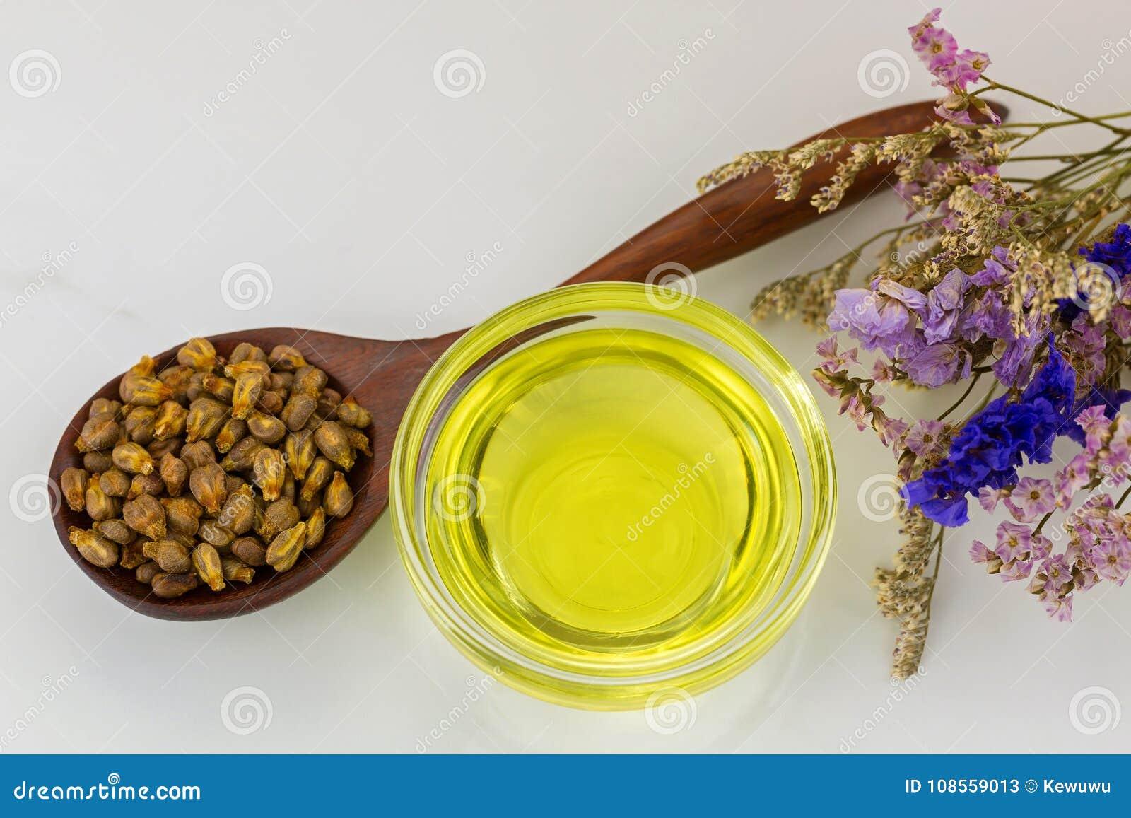 Organisk förkylning - pressande grapeseedolja i klar bunke med torkad grap
