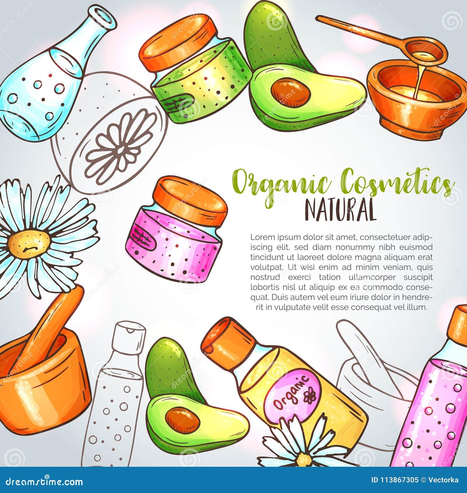 Organisk skönhetsmedelillustration Hand drog brunnsort- och aromatherapybeståndsdelar Tecknade filmen skissar av den naturliga sk