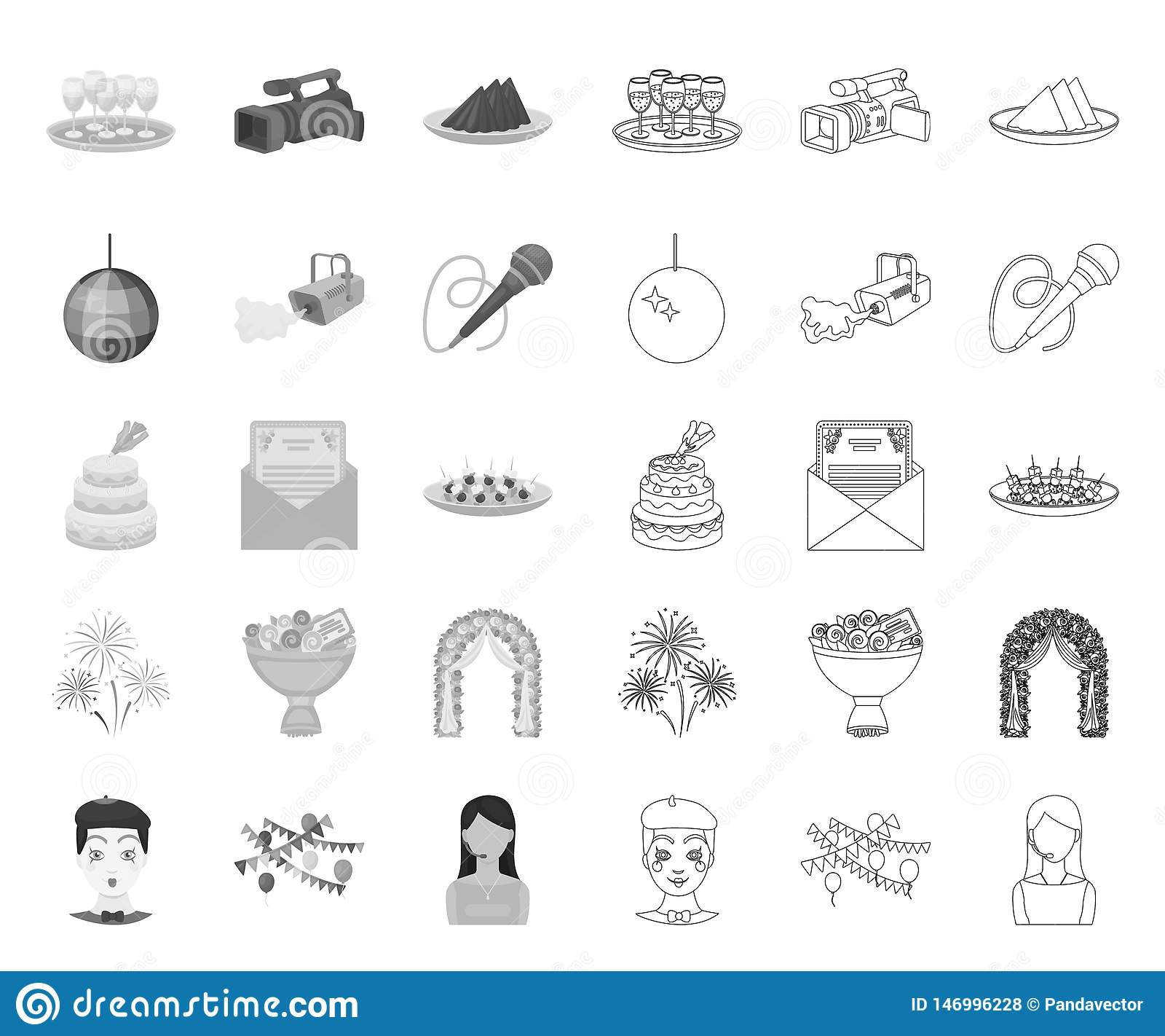 Organización mono, iconos del acontecimiento del esquema en la colección determinada para el diseño Web de la acci?n del s?mbolo