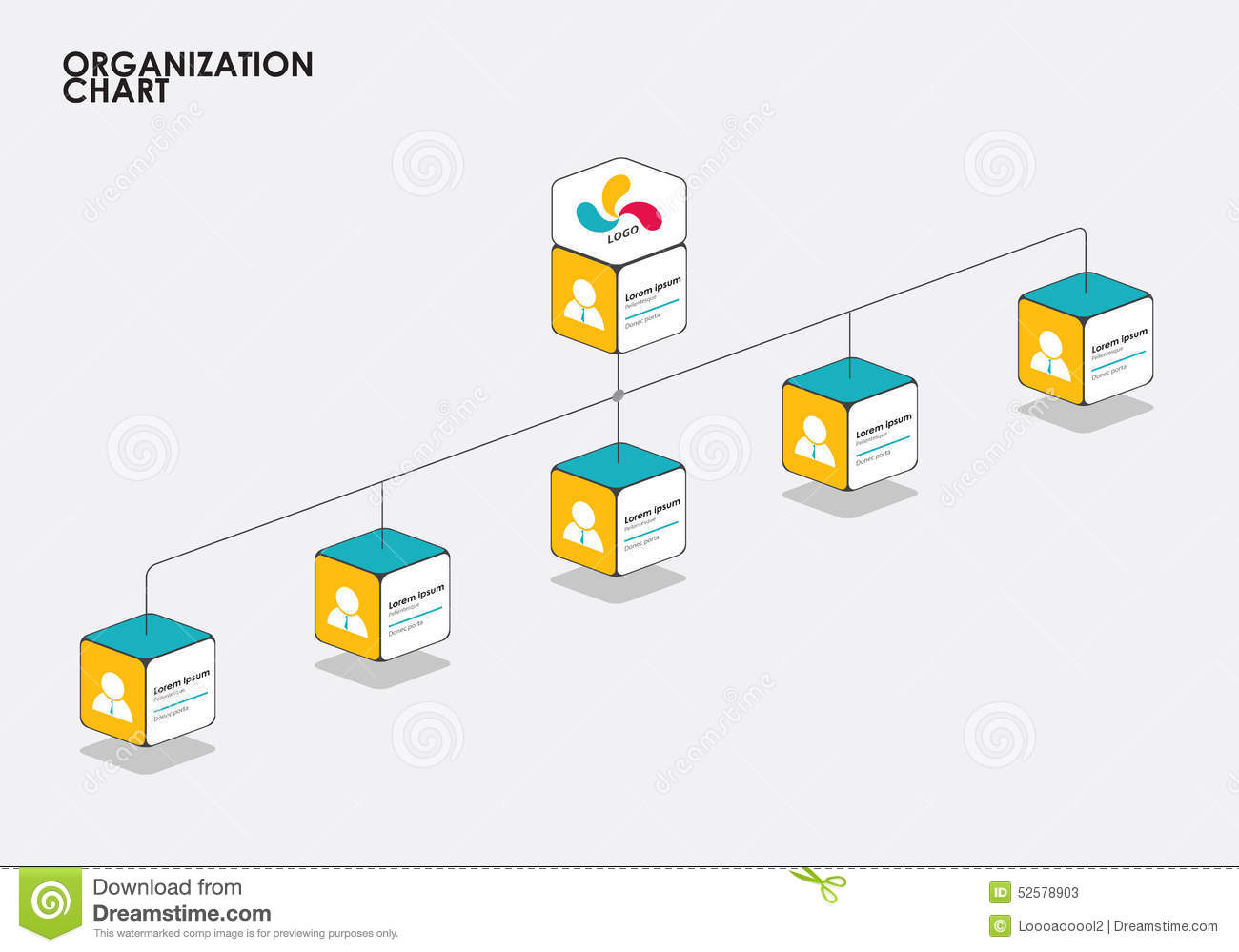 Organization Chart Infographics With Tree Diagram Flow Vector