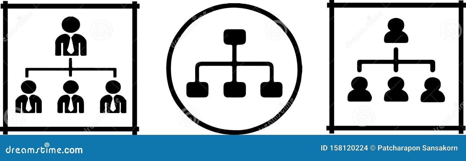 Organizational structure icon on white background