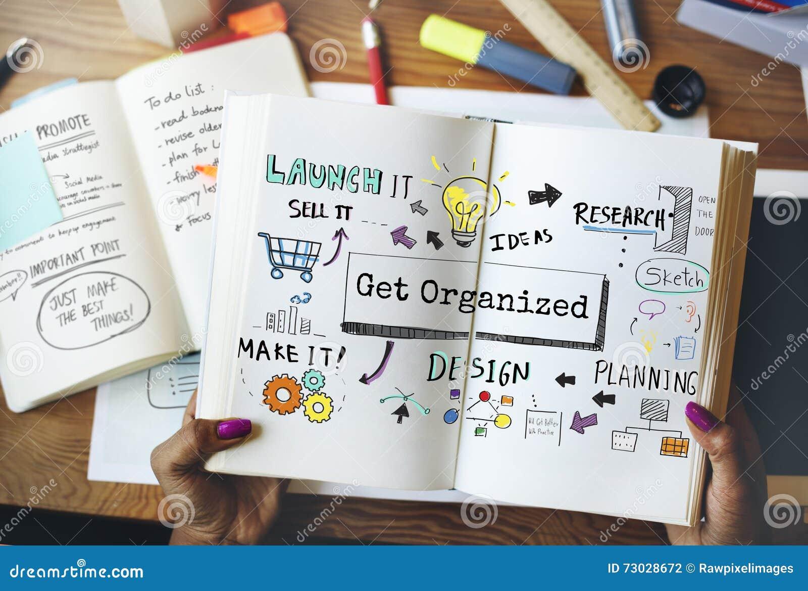 Organize o conceito do tumulto do processo do plano de desenvolvimento