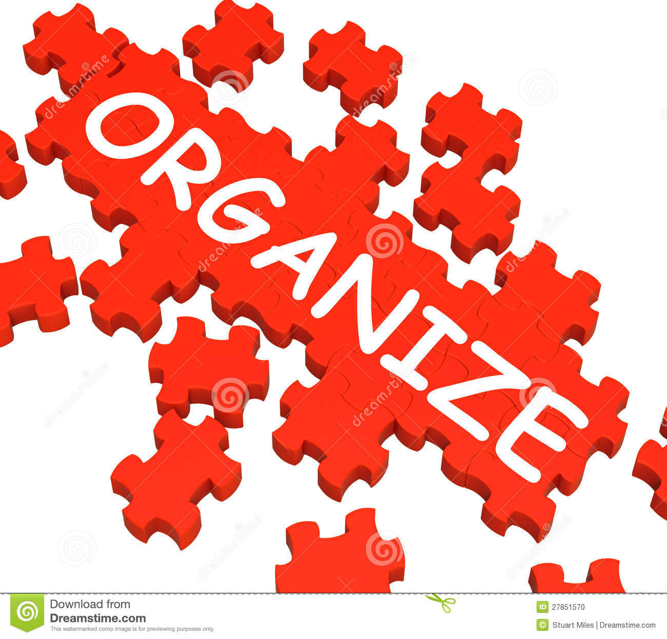 Organize Puzzle Shows Arranging Or Organizing Stock Photo - Image ...