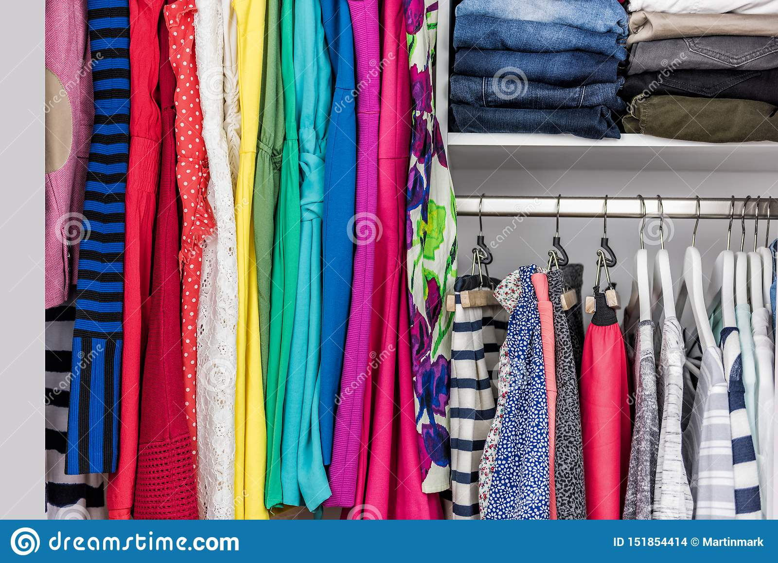 Organized Home Clothing Closet Or Shopping Display Stock