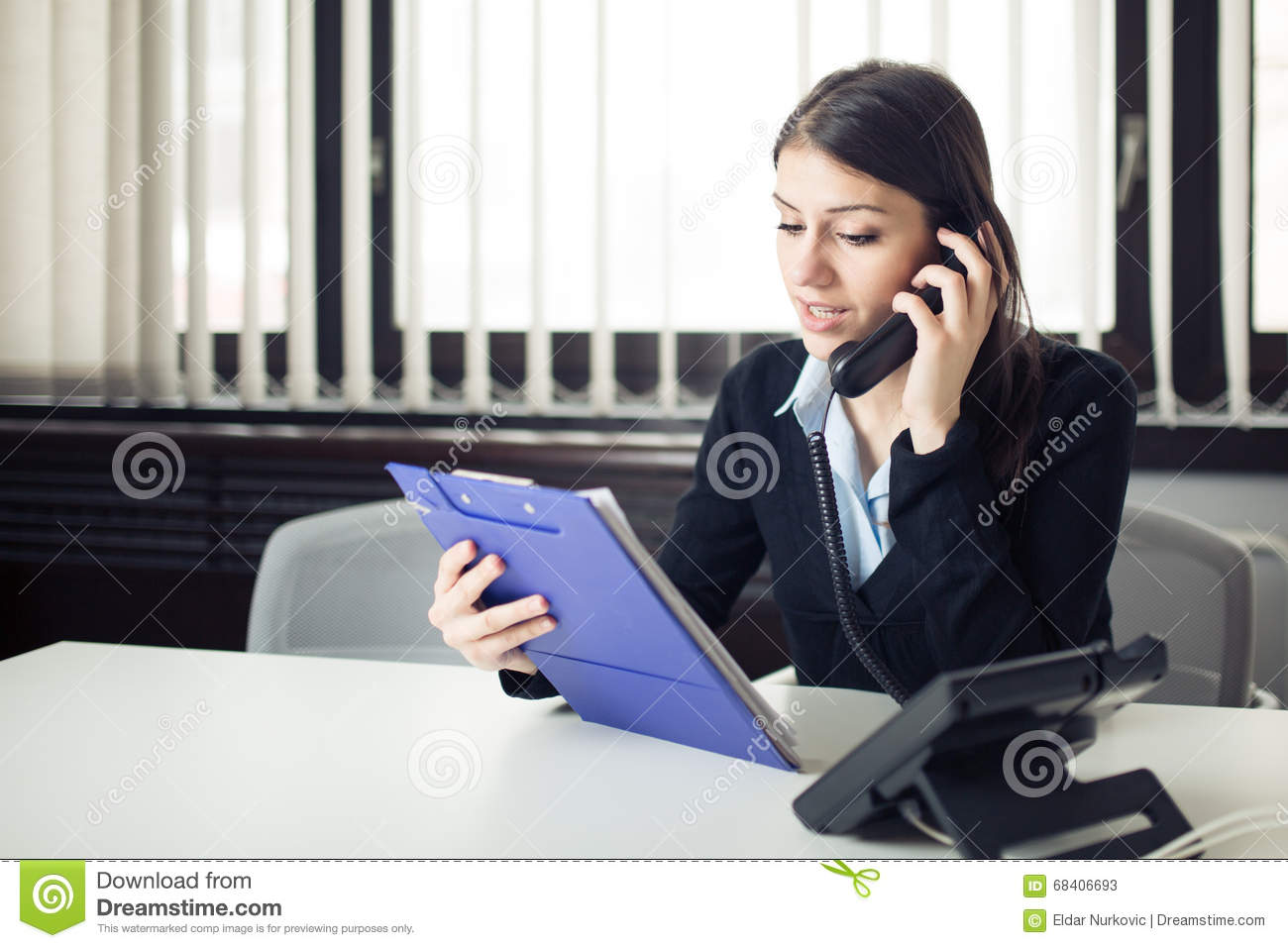 Download Organized Responsible Office Worker Business Woman Giving Instructions Via Phone Call.Looking Confused Checking Notes And Paperwor Stock Image - Image of frustrated, disputes: 68406693