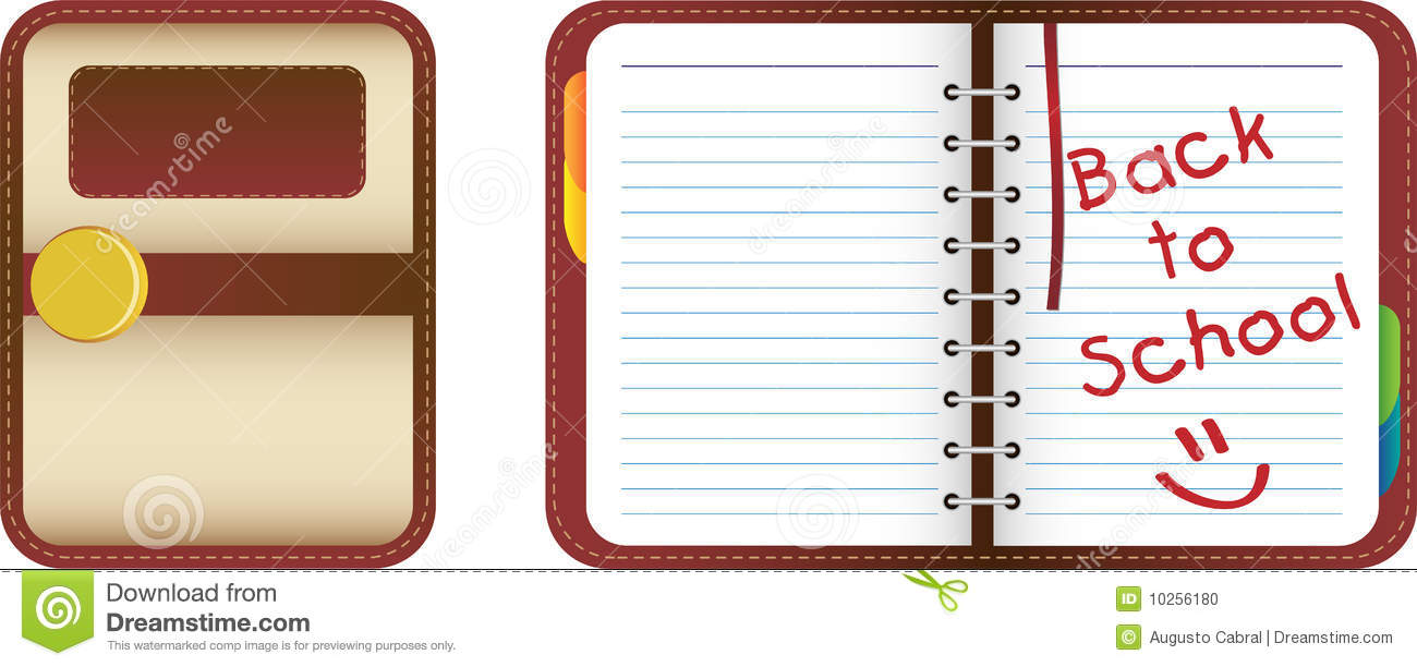 Leather organizer notebook with colored tabs back to school
