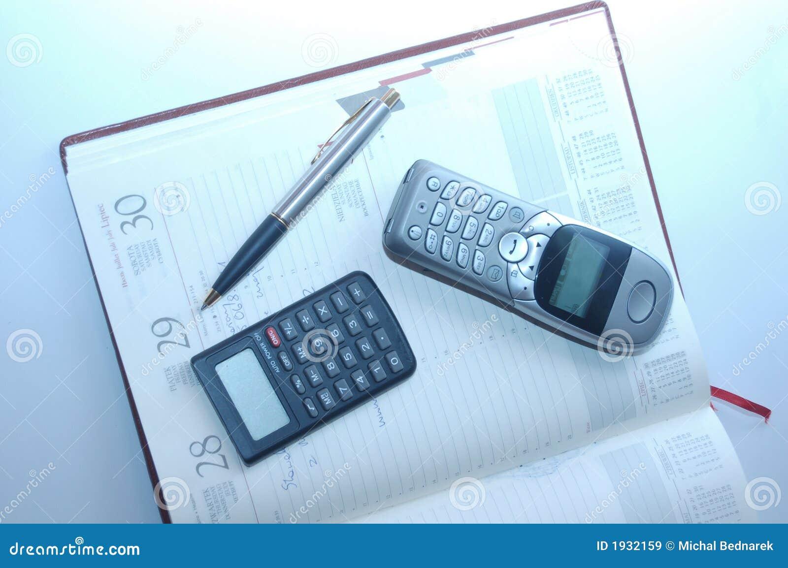 Organizer Calculator Fountain Pen Royalty Free Stock