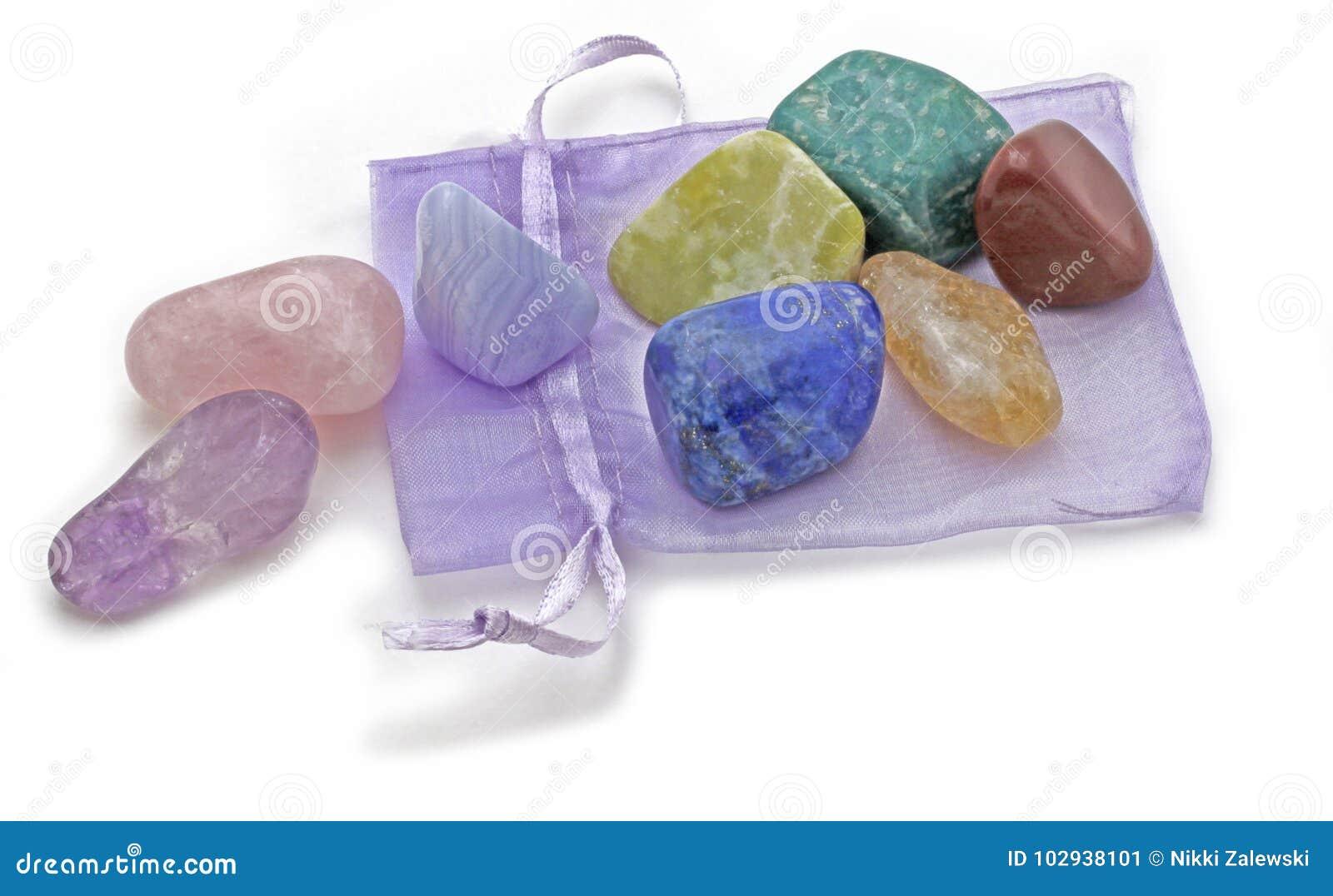Organza-Beutel mit Chakra Crystal Set