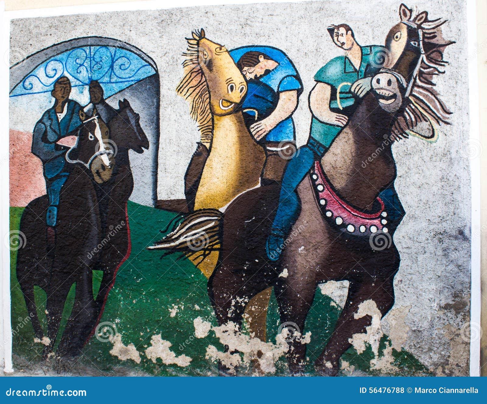 ORGOSOLO, ITALIE - 26 juillet 2015 - peintures de mur typiques sur