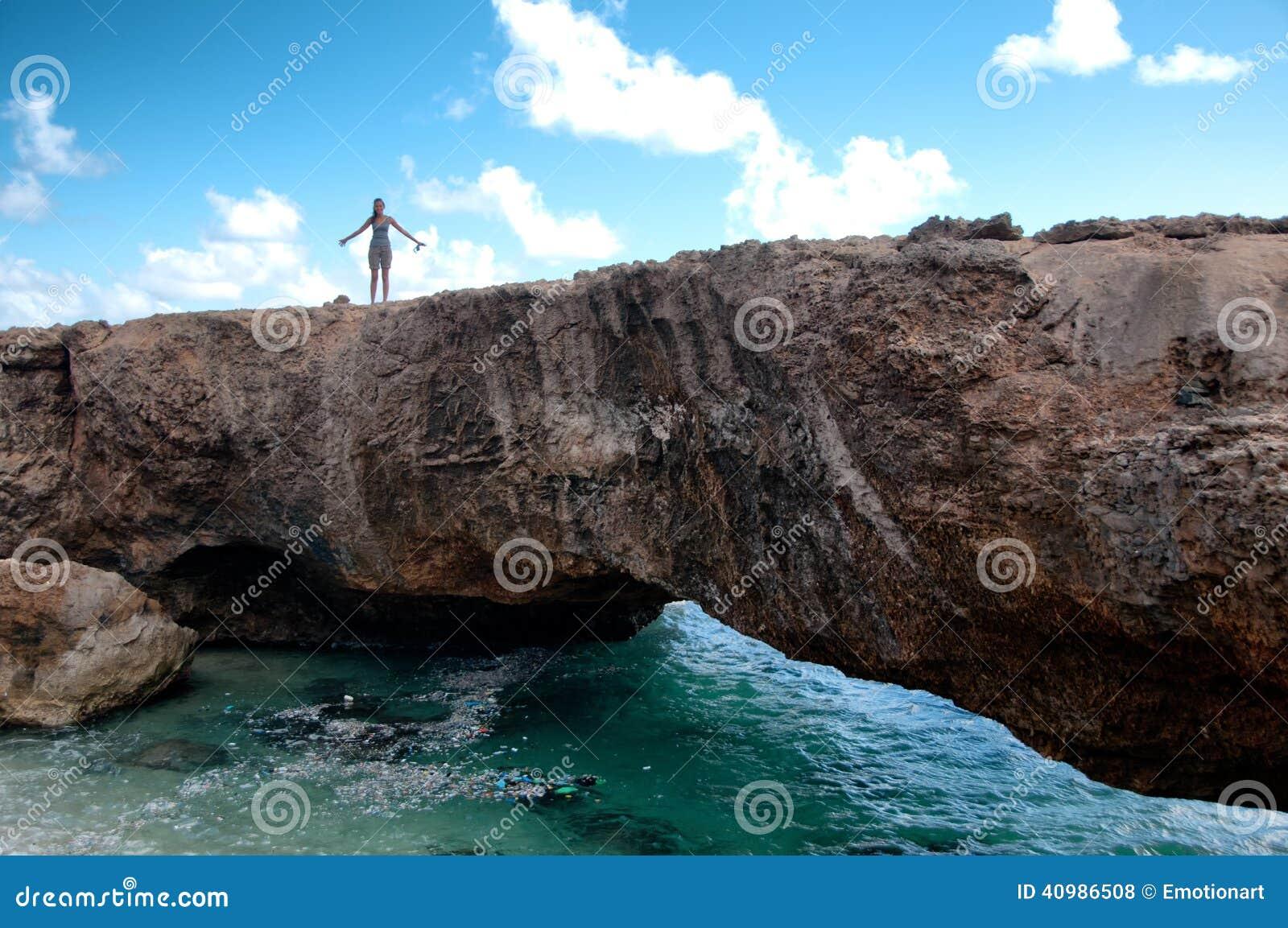 Oriëntatiepunt van de baby het Natuurlijke Brug in Aruba