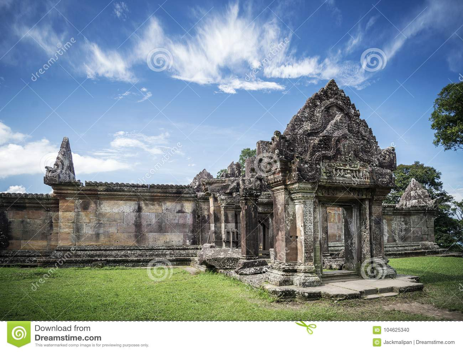 Download Oriëntatiepunt Van De Tempelruïnes Van Preahvihear Het Oude Khmer In Kambodja Stock Foto - Afbeelding bestaande uit detail, erfenis: 104625340