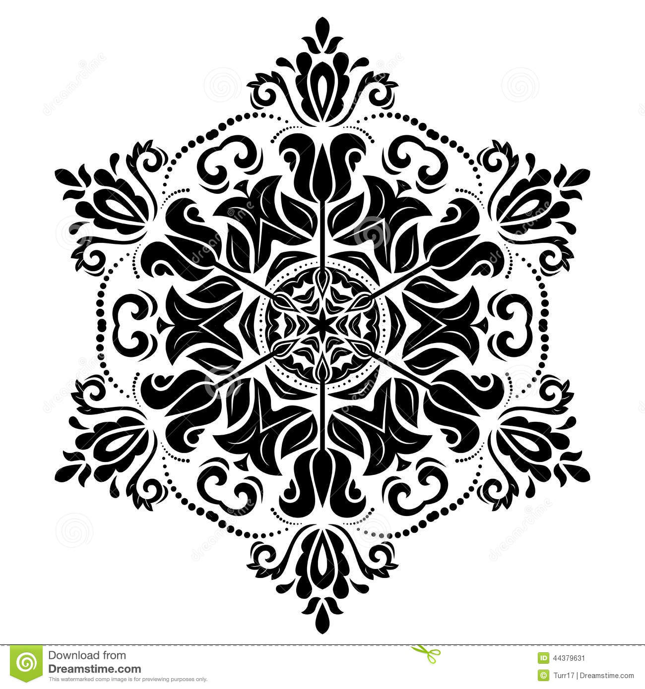 With damask arabesque and floral elements abstract background