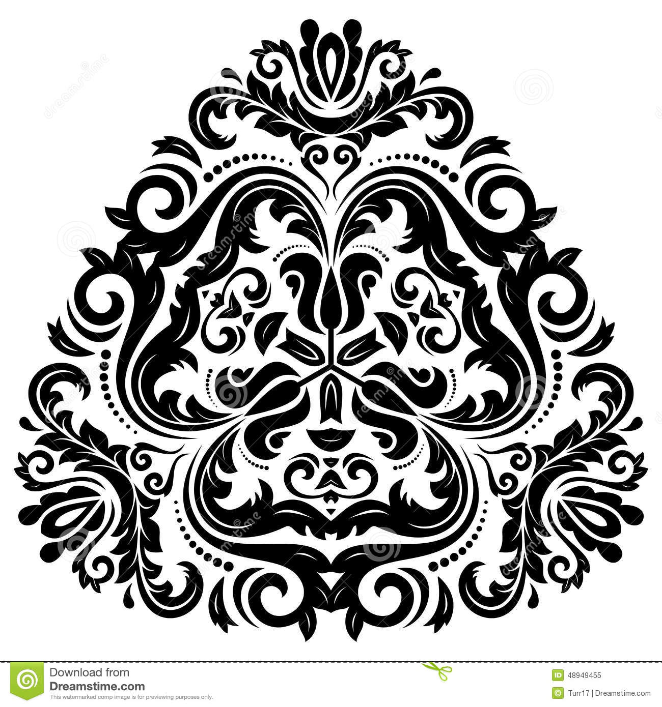 Orient Vector Pattern. Abstract Ornament. Black Stock