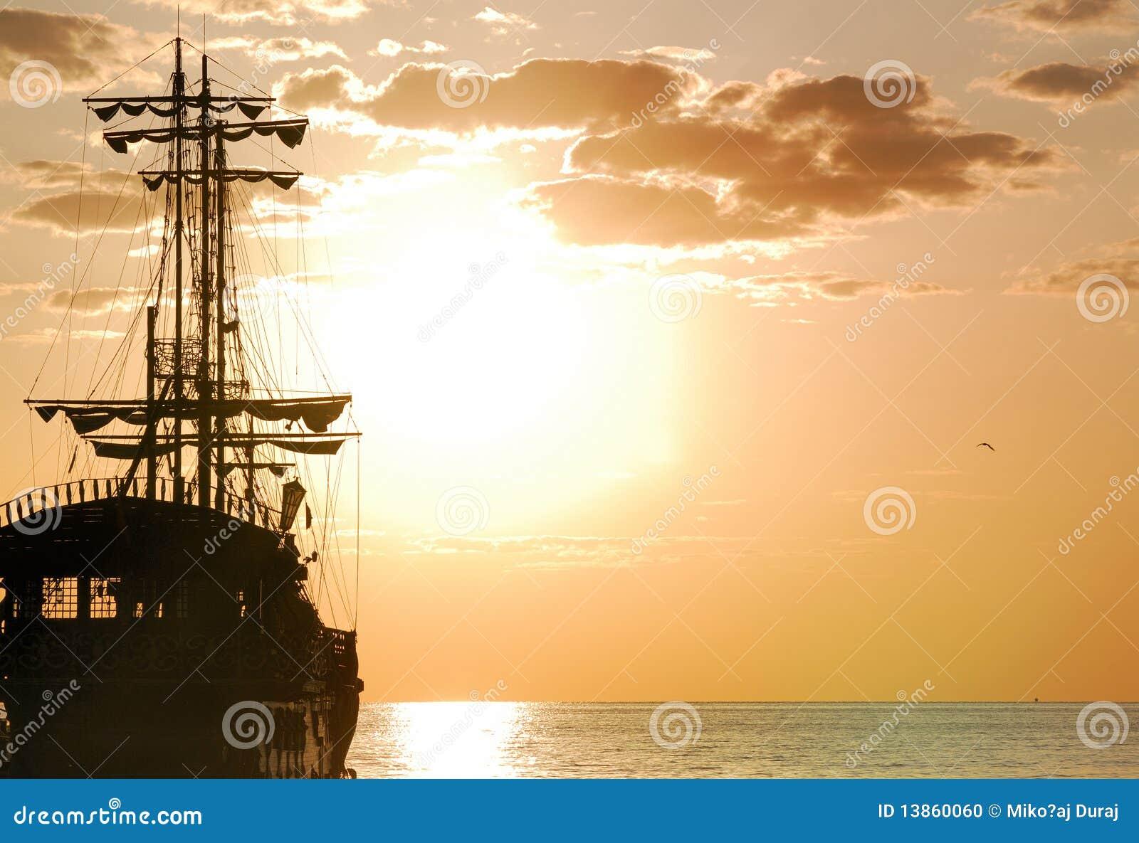 Orientação horizontal do navio de piratas