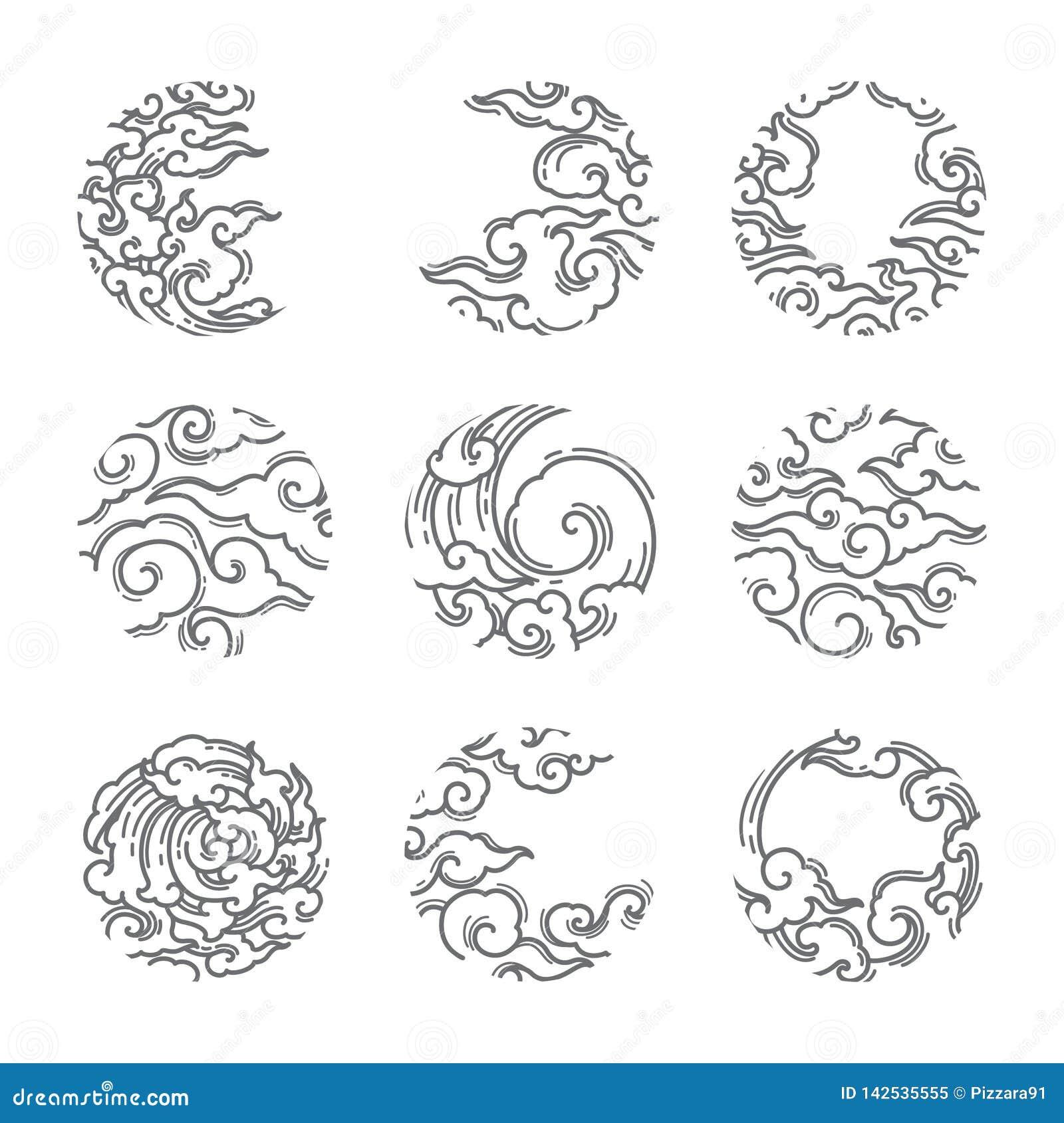 Orientał chmura w round kształta ramy ikonie japończycy tajlandzki