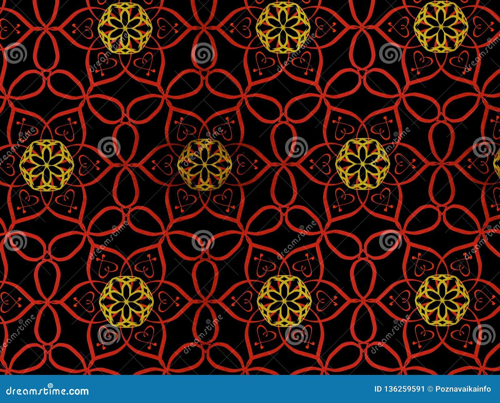 Orientał deseniowa czerwień i złocisty kolor, ilustracja Kwiatu mandala elementu dekoracyjny rocznik Ornament odizolowywający na