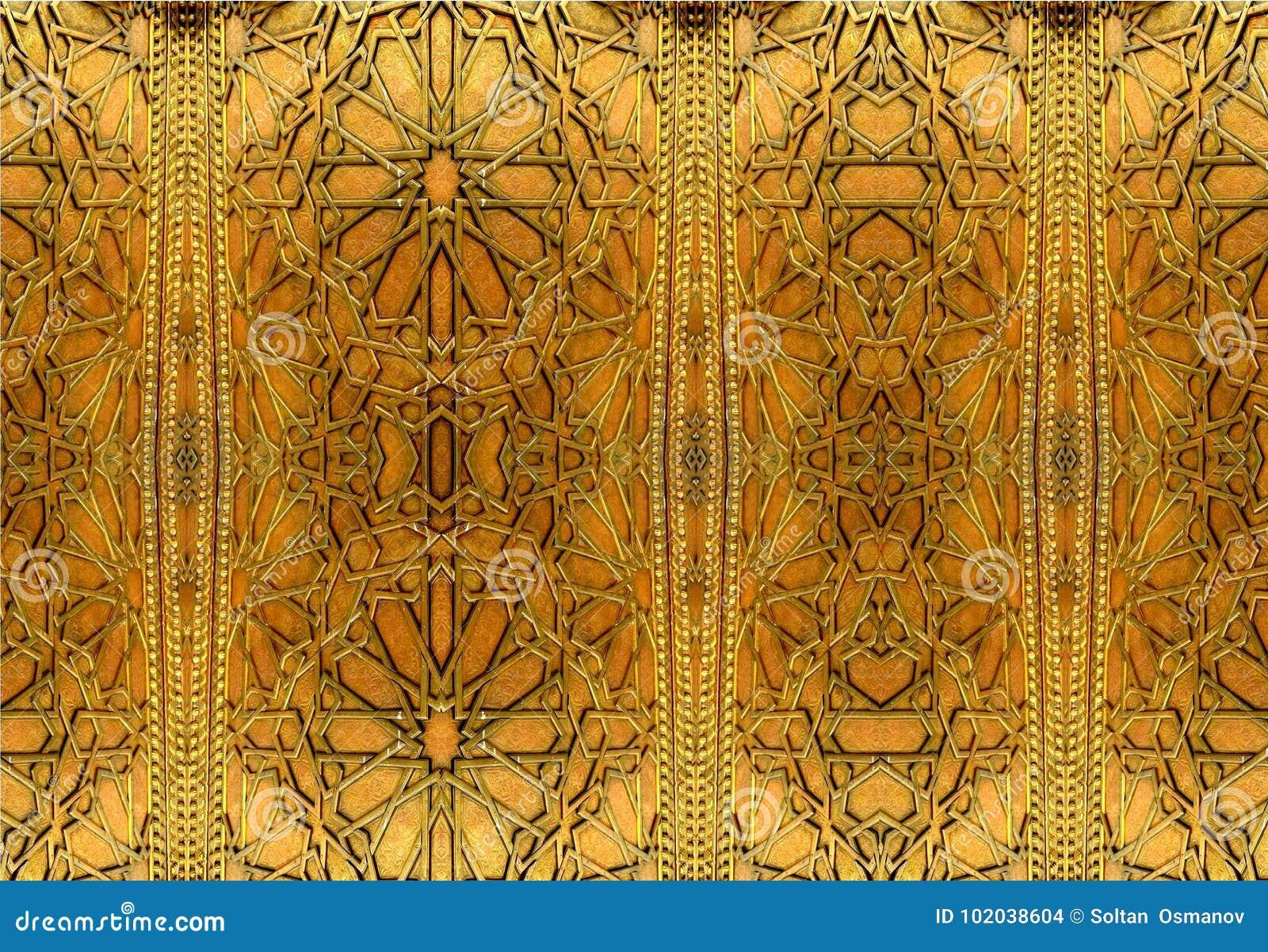 Orientała żelazo projektuje i ornamenty Obraz przedstawia orientalnych wzory na żelaznym drzwi