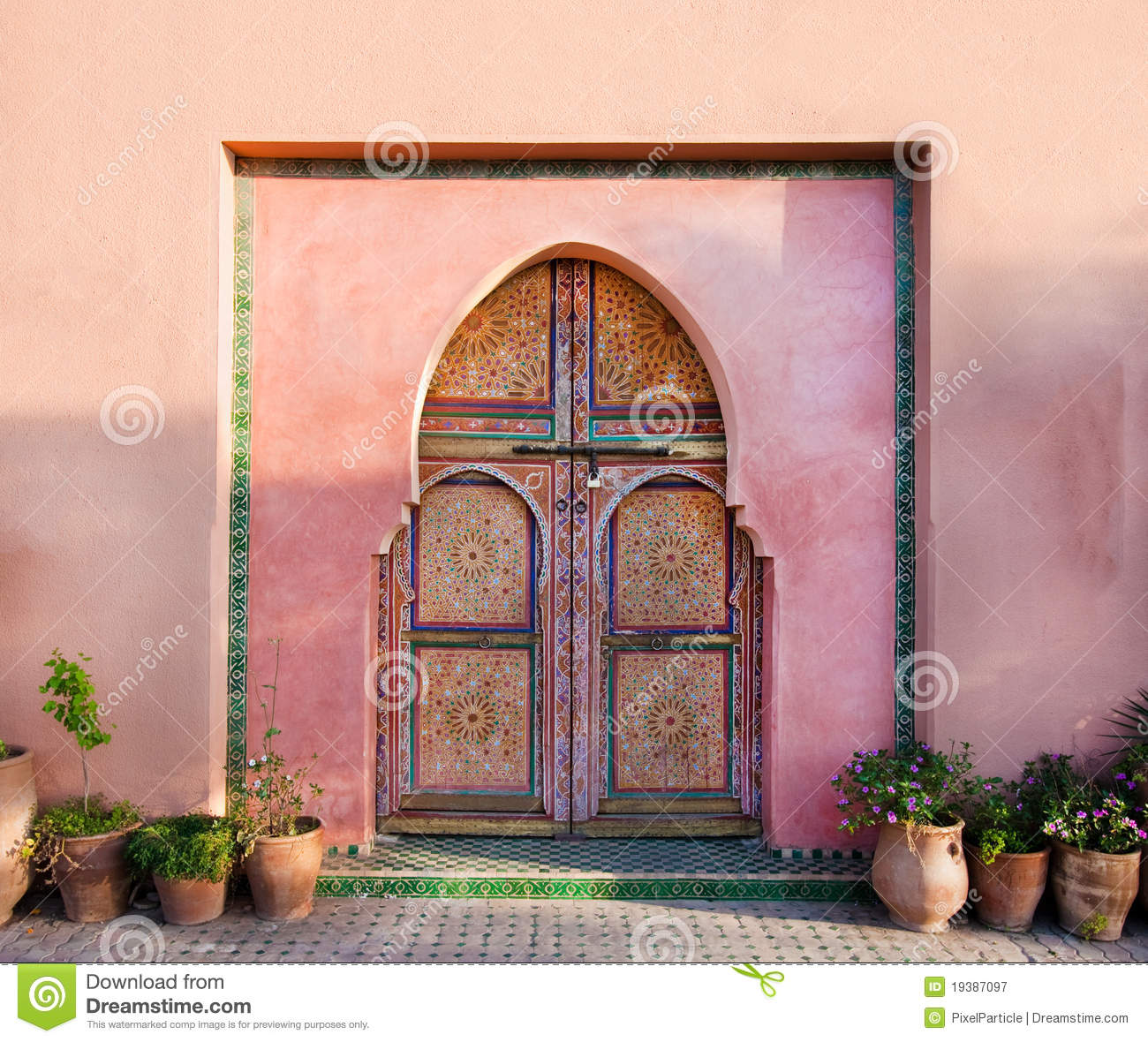Oriental arabic wall with doors royalty free stock photography image
