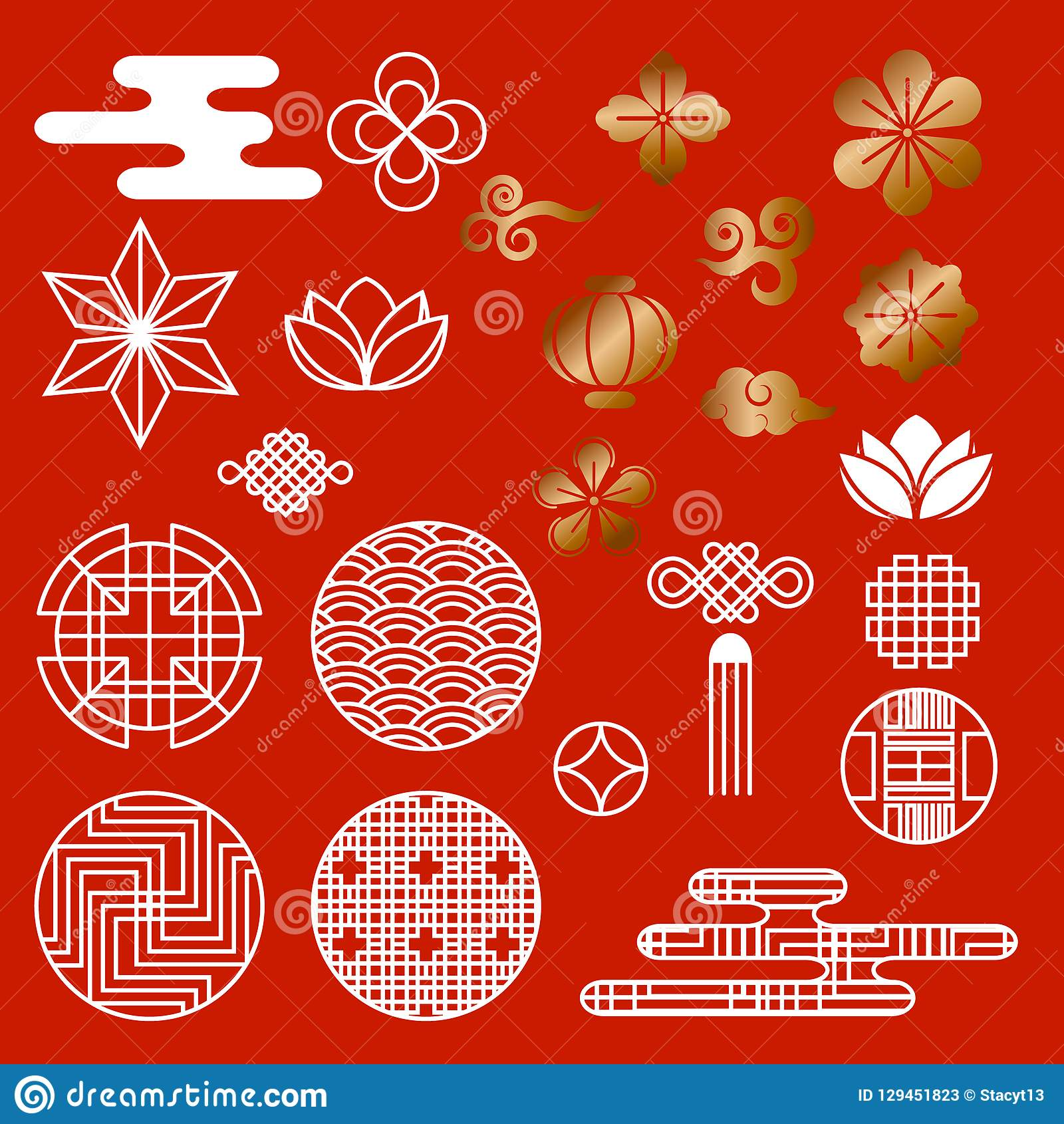 Oriental asian traditional korean japanese chinese style pattern decoration elements vector set,web page background