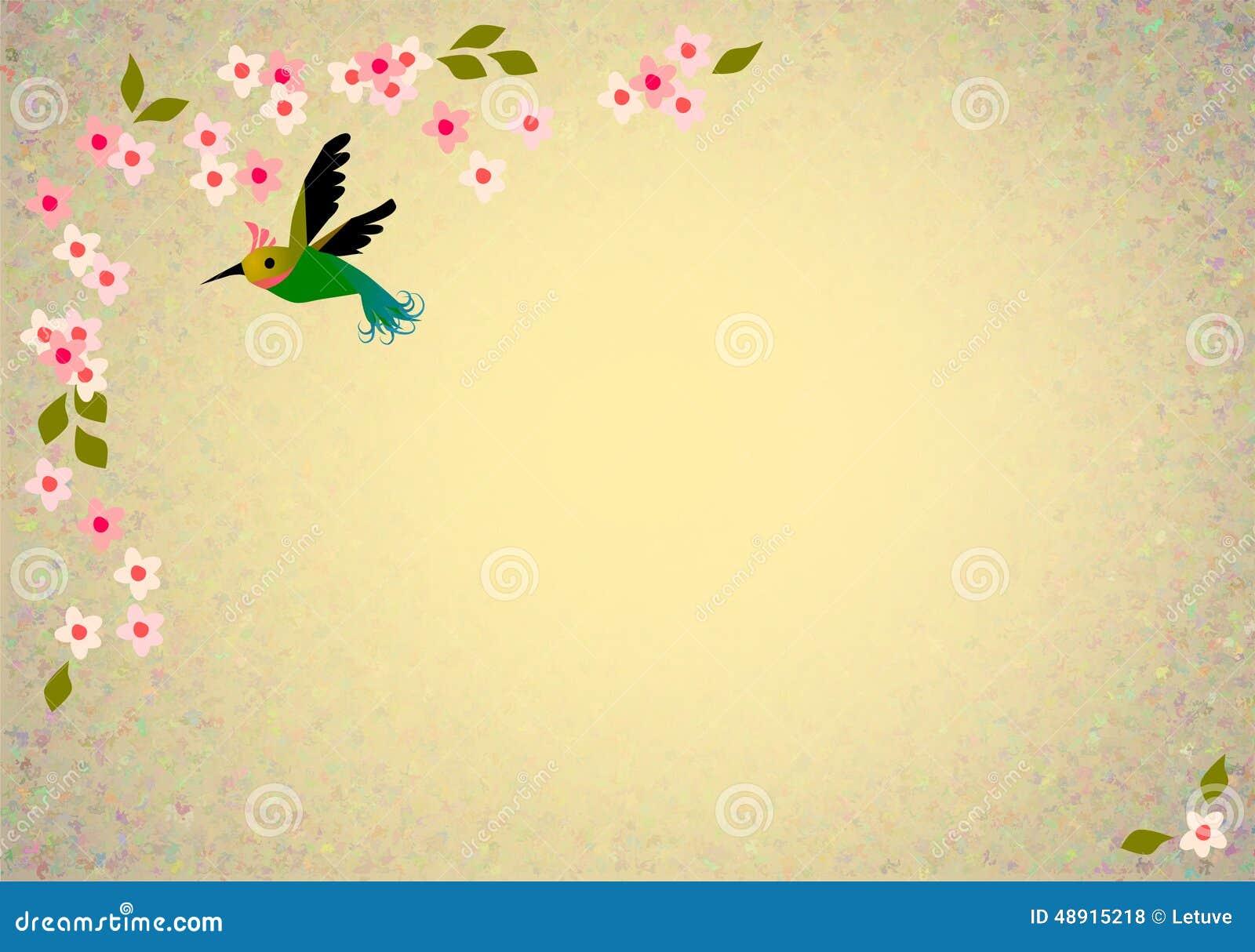Oriental blossom birds background
