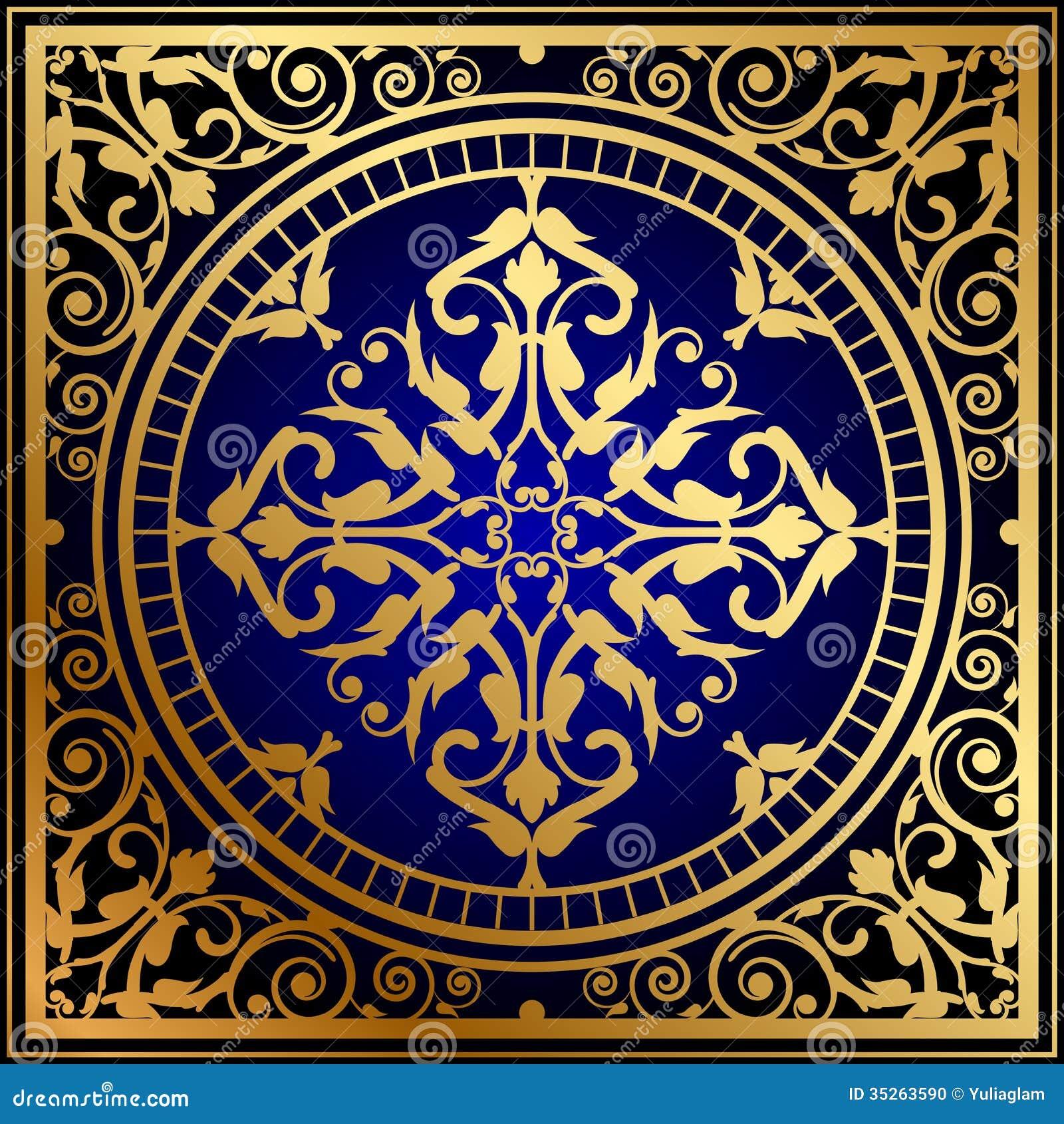Oriental Blue amp Gold Rug Stock Photo Image 35263590