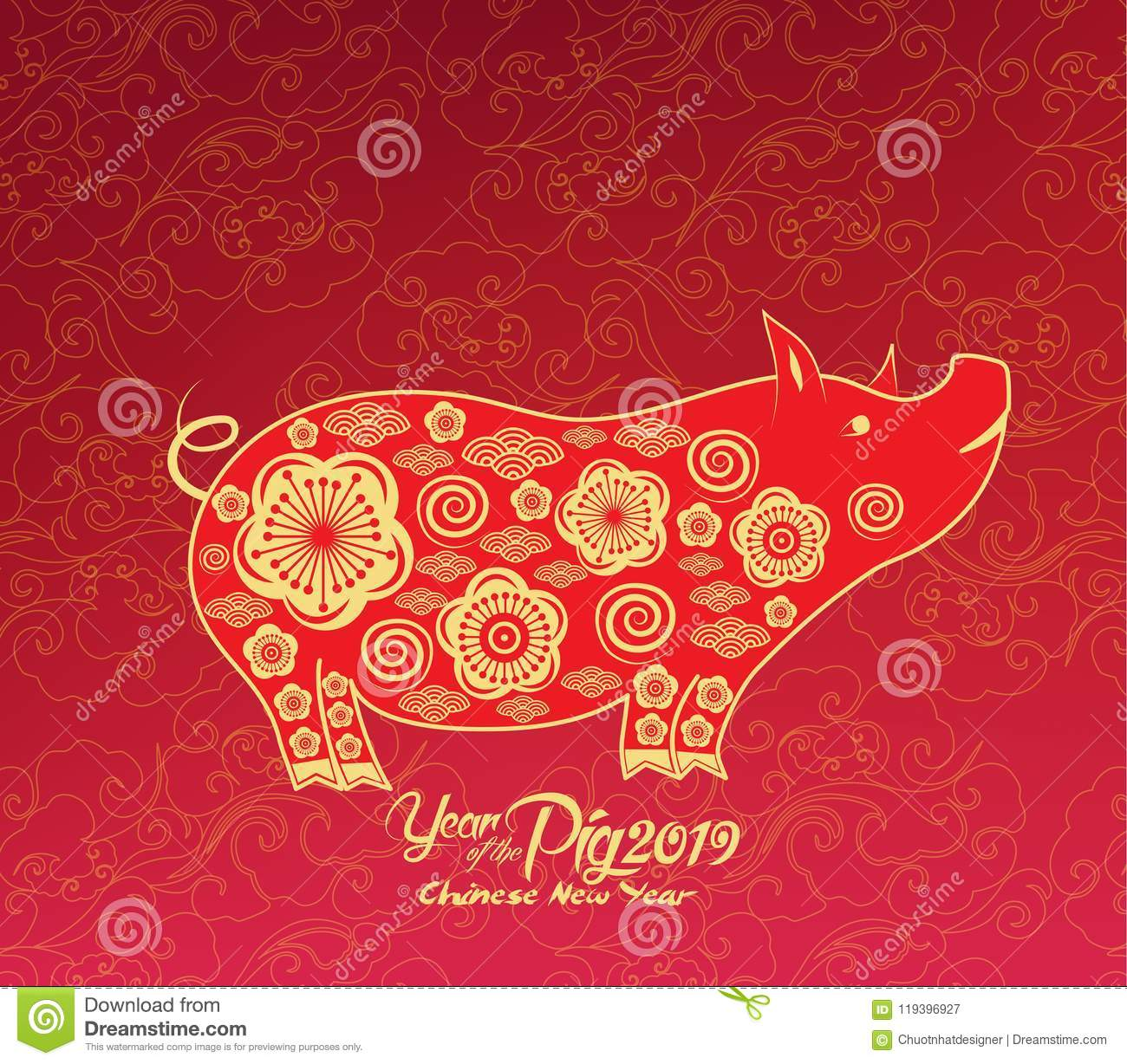 oriental chinese new year 2019 background year of the pig