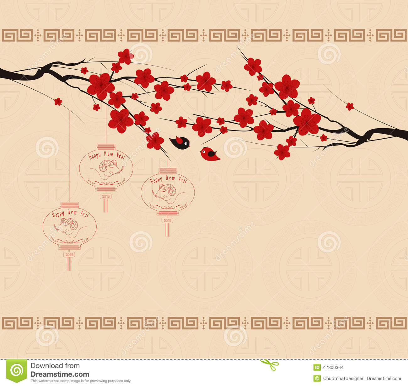oriental chinese new year element vector designblossom floral background with red chinese lanterns