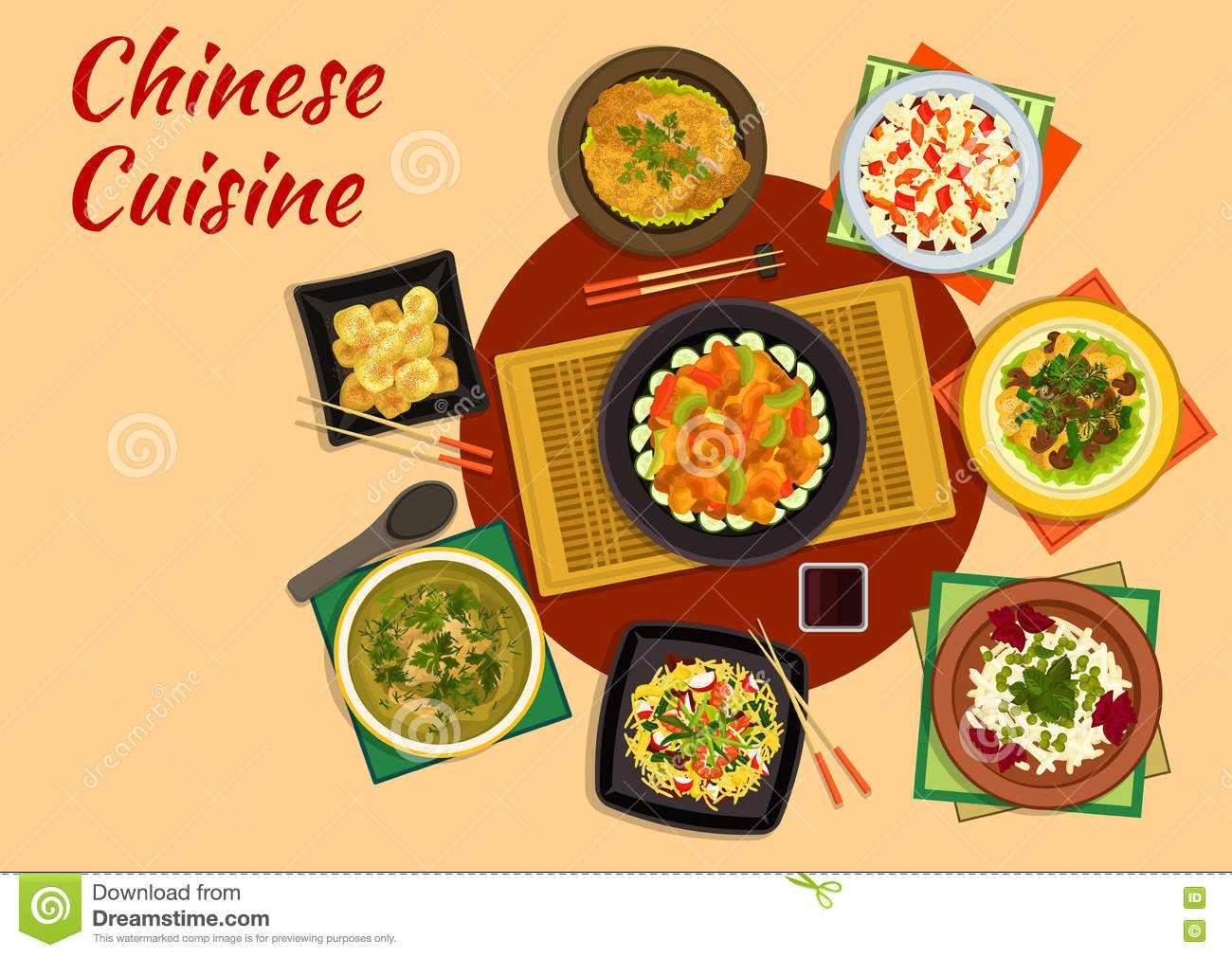 Thai Kitchen Design Oriental Cuisine Dinner With Chinese Food Icon Stock
