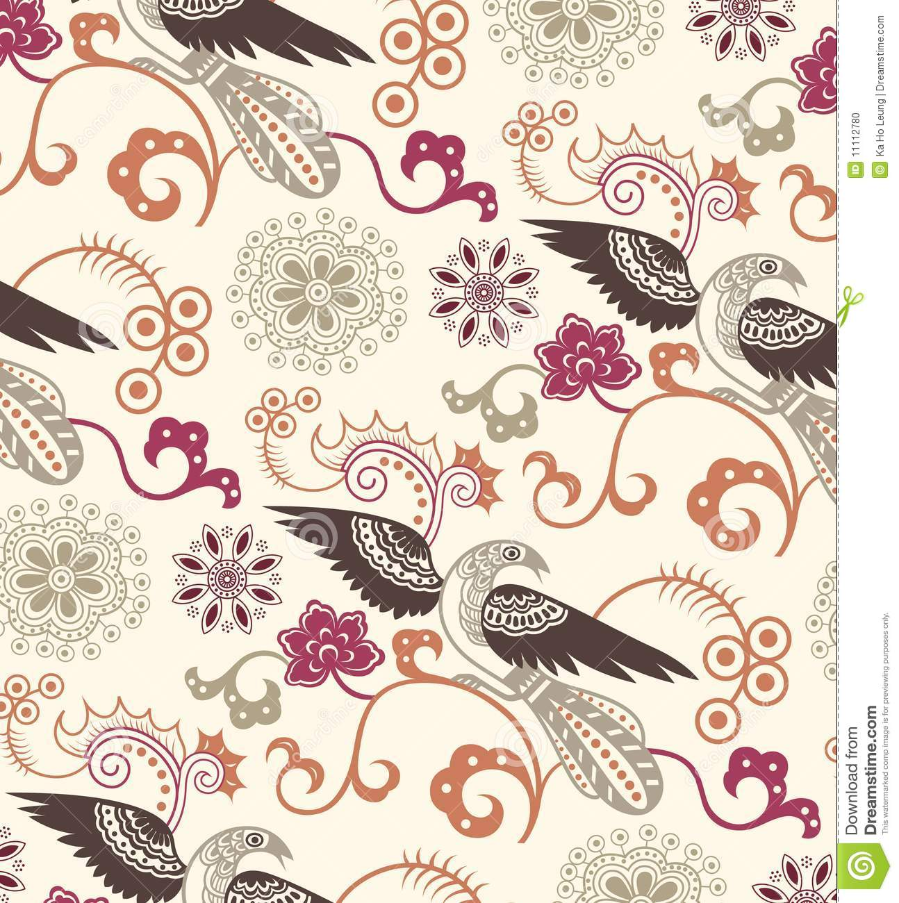 Oriental Floral and Birds Pattern