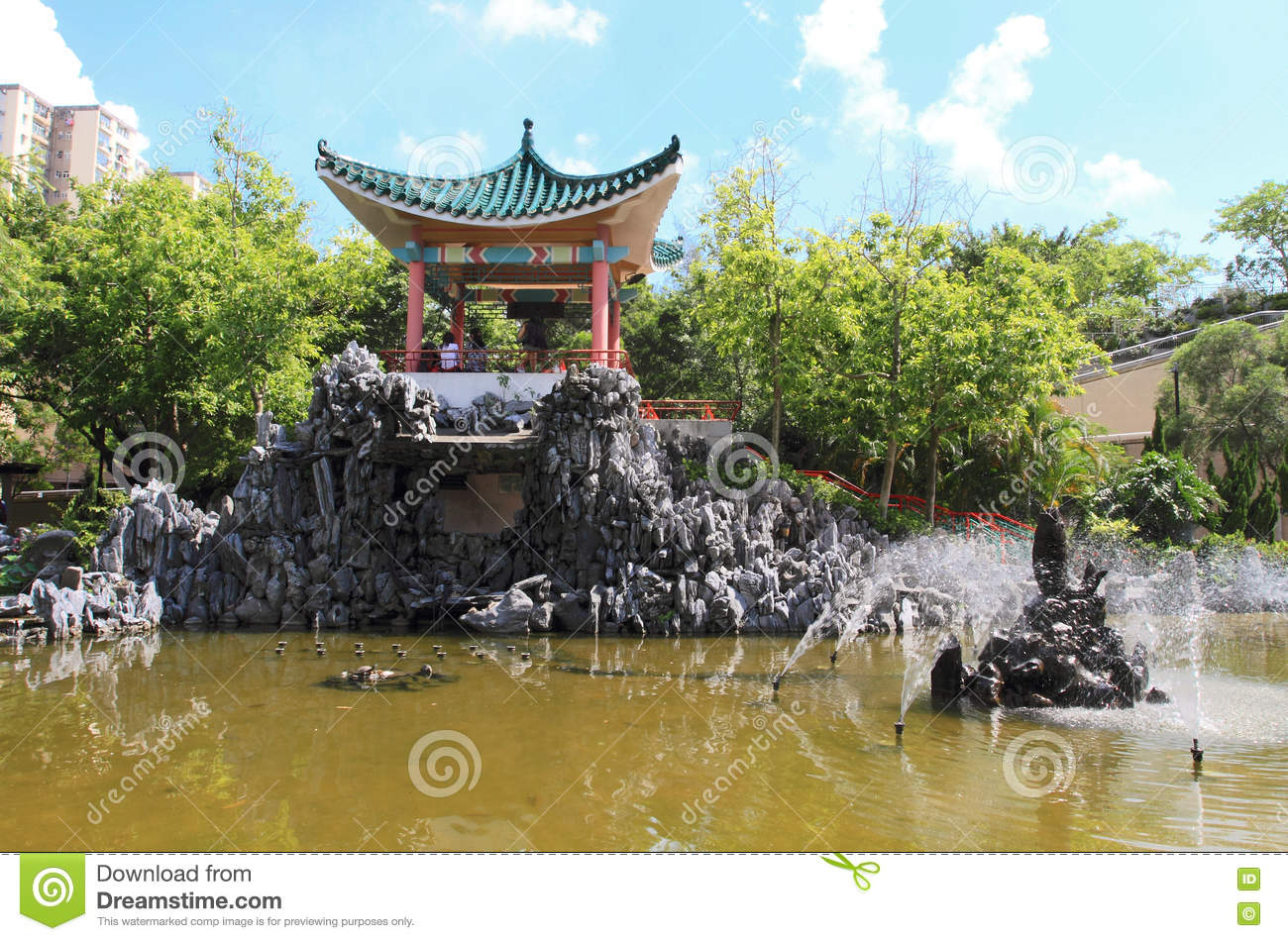 oriental garden and lake editorial stock photo. image of