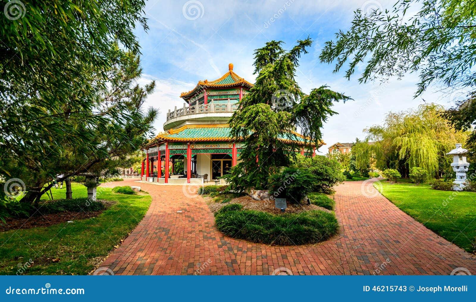 Oriental Gardens And Pagoda Stock Photo