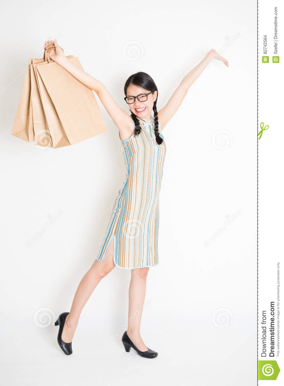 Oriental Girl Holding Shopping Paper Bag Stock Photo Image Of Adult Cheongsam 82742564