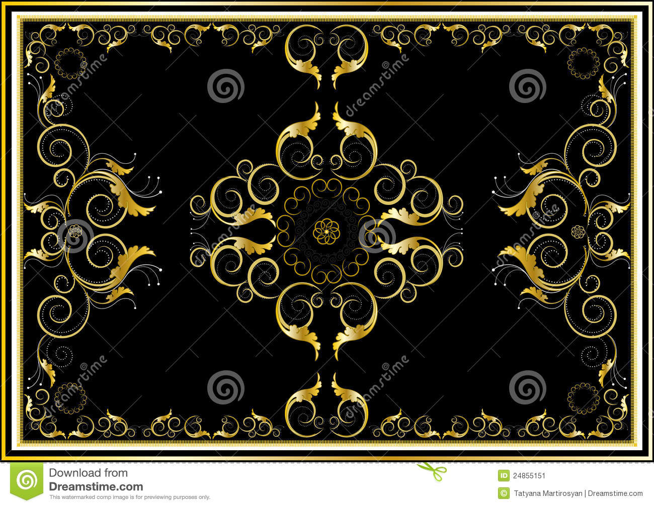 Oriental Gold Ornaments For Rug In Dark Background Stock