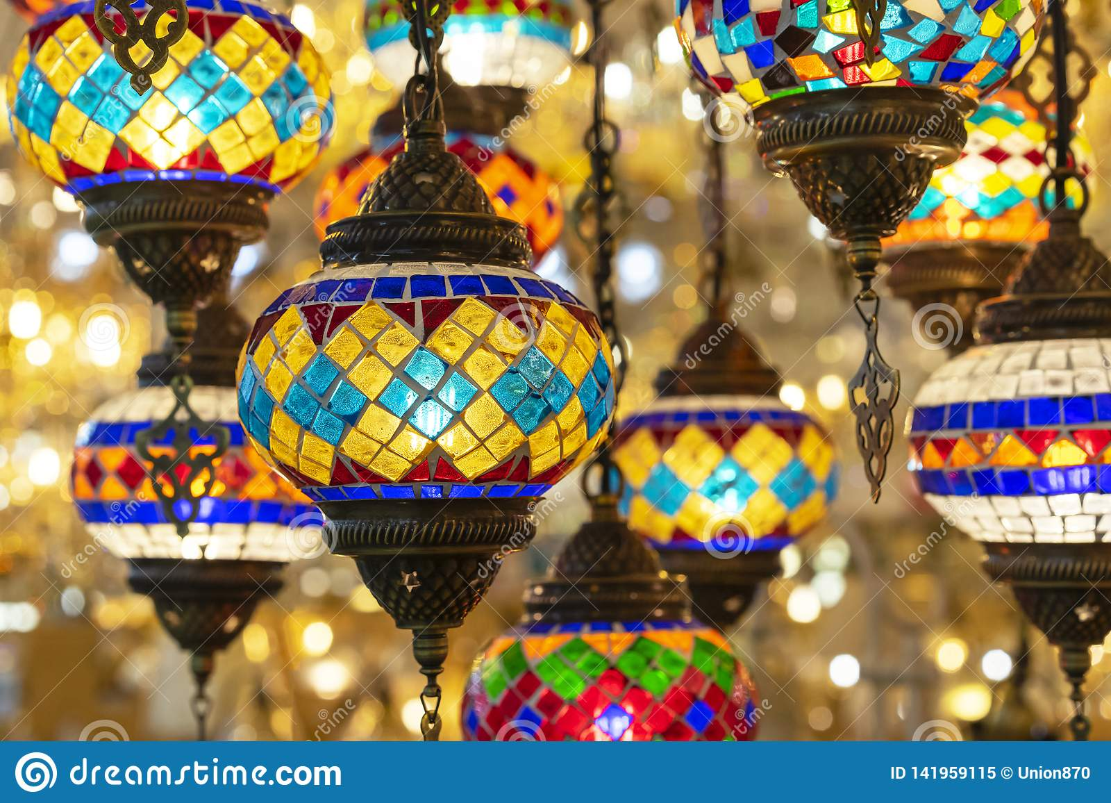 Oriental lamps from a multi-colored mosaic in the shop window